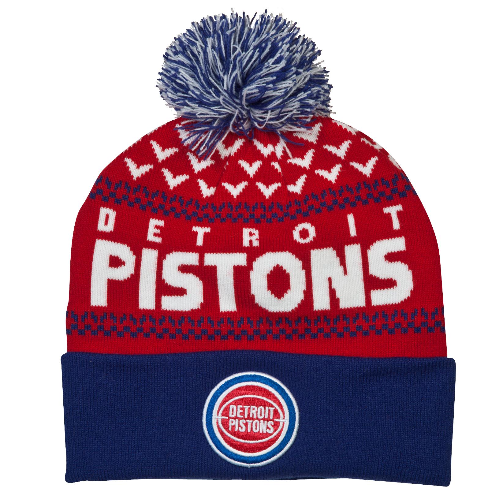 Detroit Pistons Nujacq Cuff Knit Bobble Hat Red