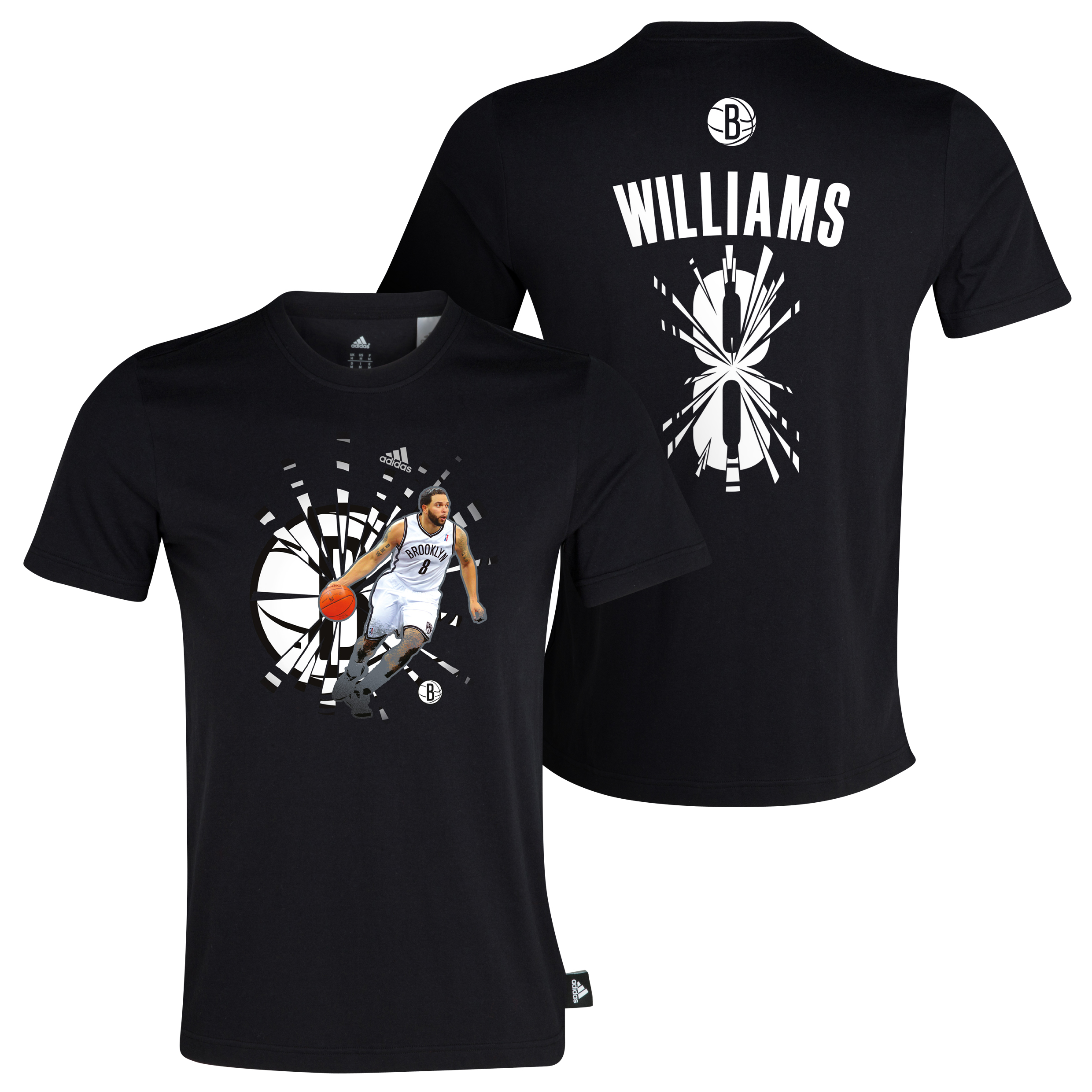 Brooklyn Nets Deron Williams adidas Broken T-Shirt Black