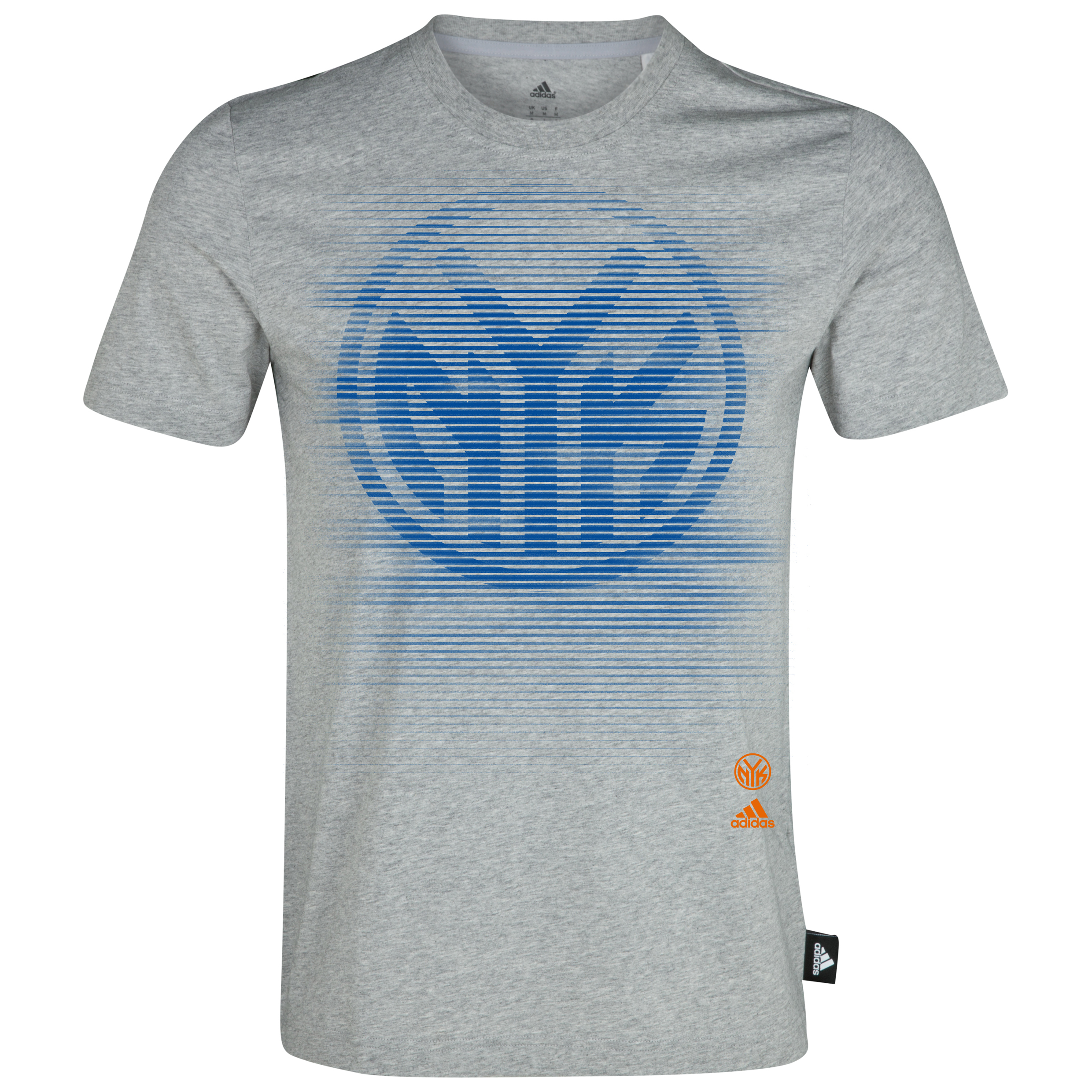 New York Knicks adidas Stripe Fade T-Shirt Grey