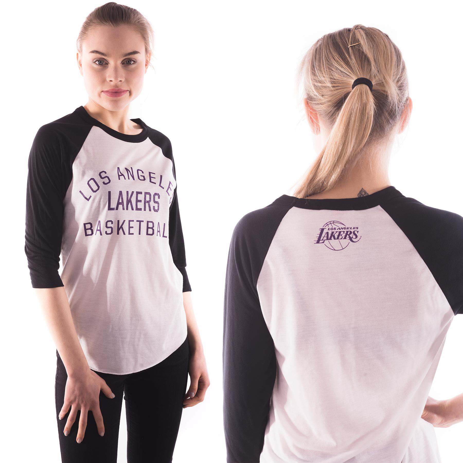 Los Angeles Lakers Team Issue Ranglan Top White/Black -Womens