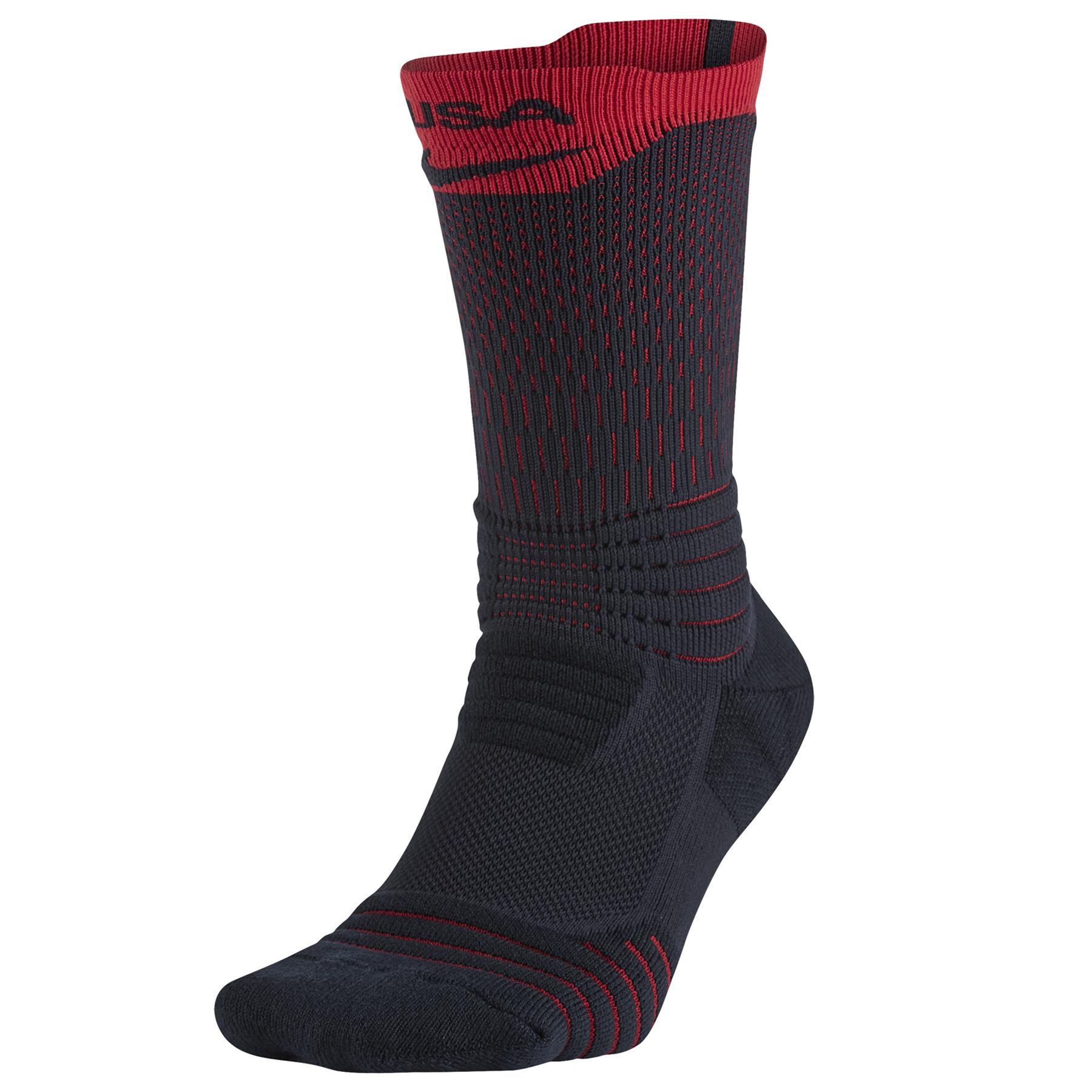 Nike Elite Versatility USAB Crew Basketball Sock - Dark Obsidian