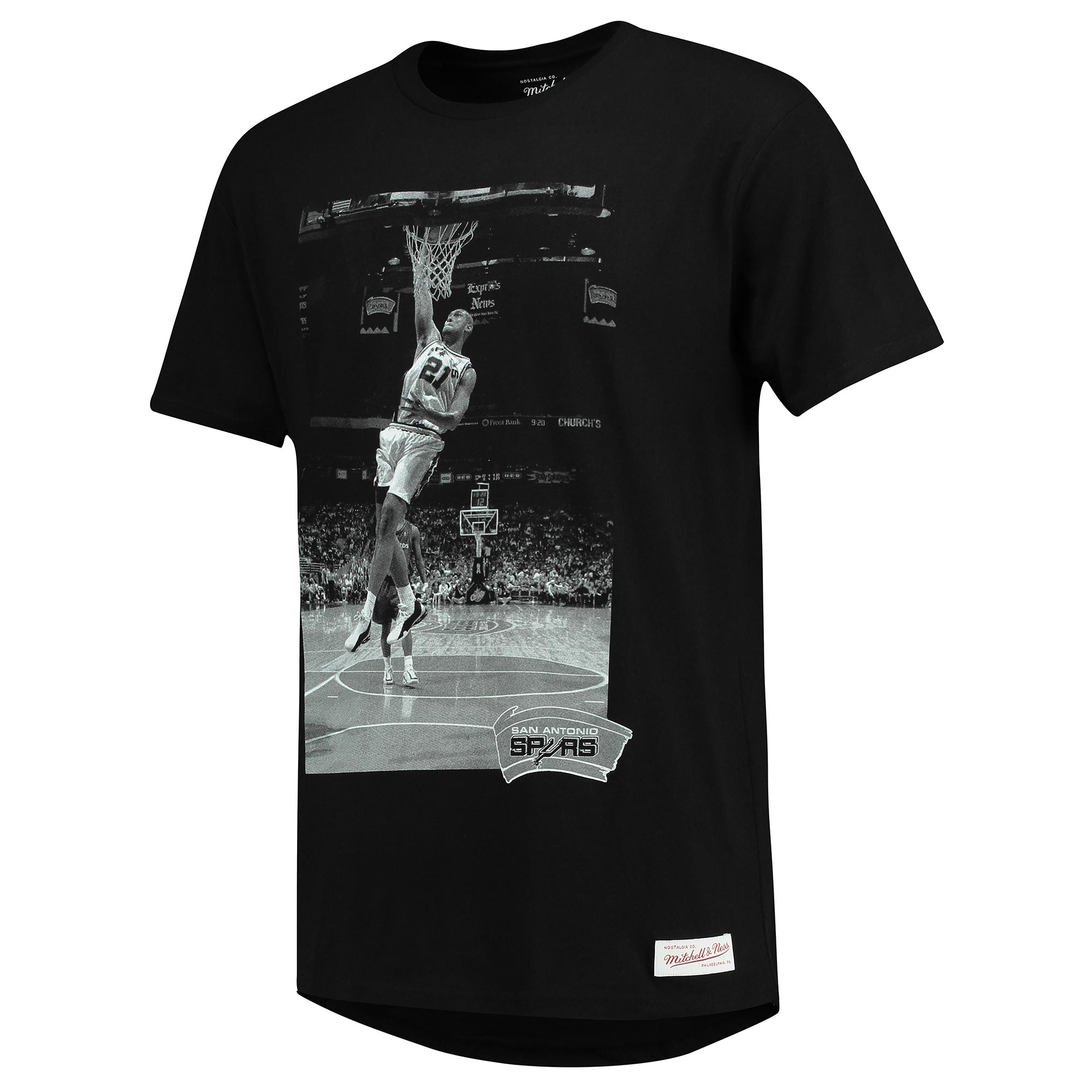 San Antonio Spurs Tim Duncan B&W Colour Photo T-Shirt by Mitchell & Ne