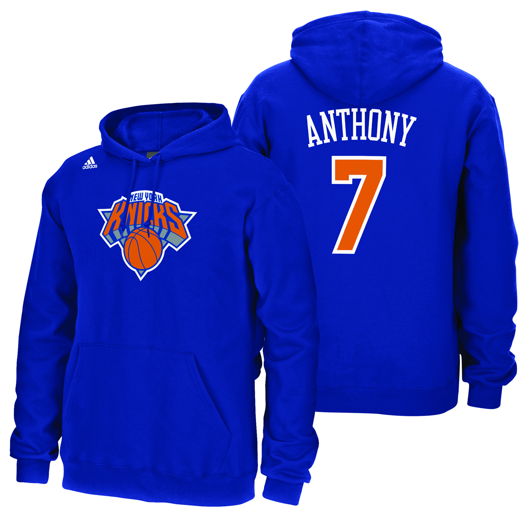 New York Knicks adidas Name & Number Hoodie - Carmelo Anthony