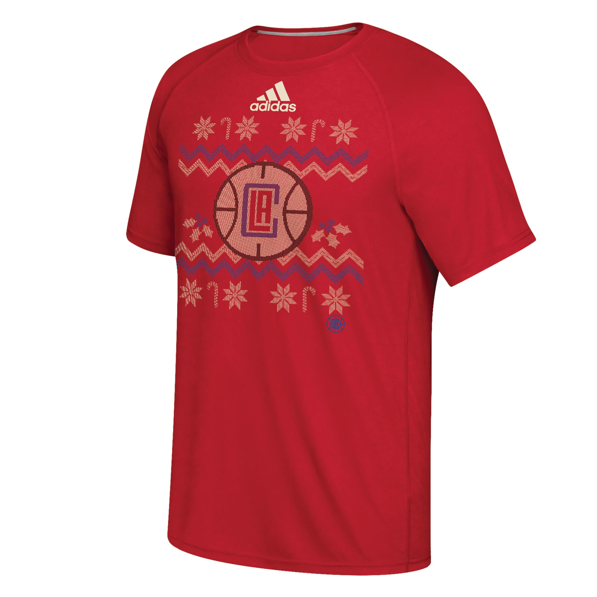 Image of LA Clippers Christmas Day Ugly Sweater On-Court T-Shirt 2016