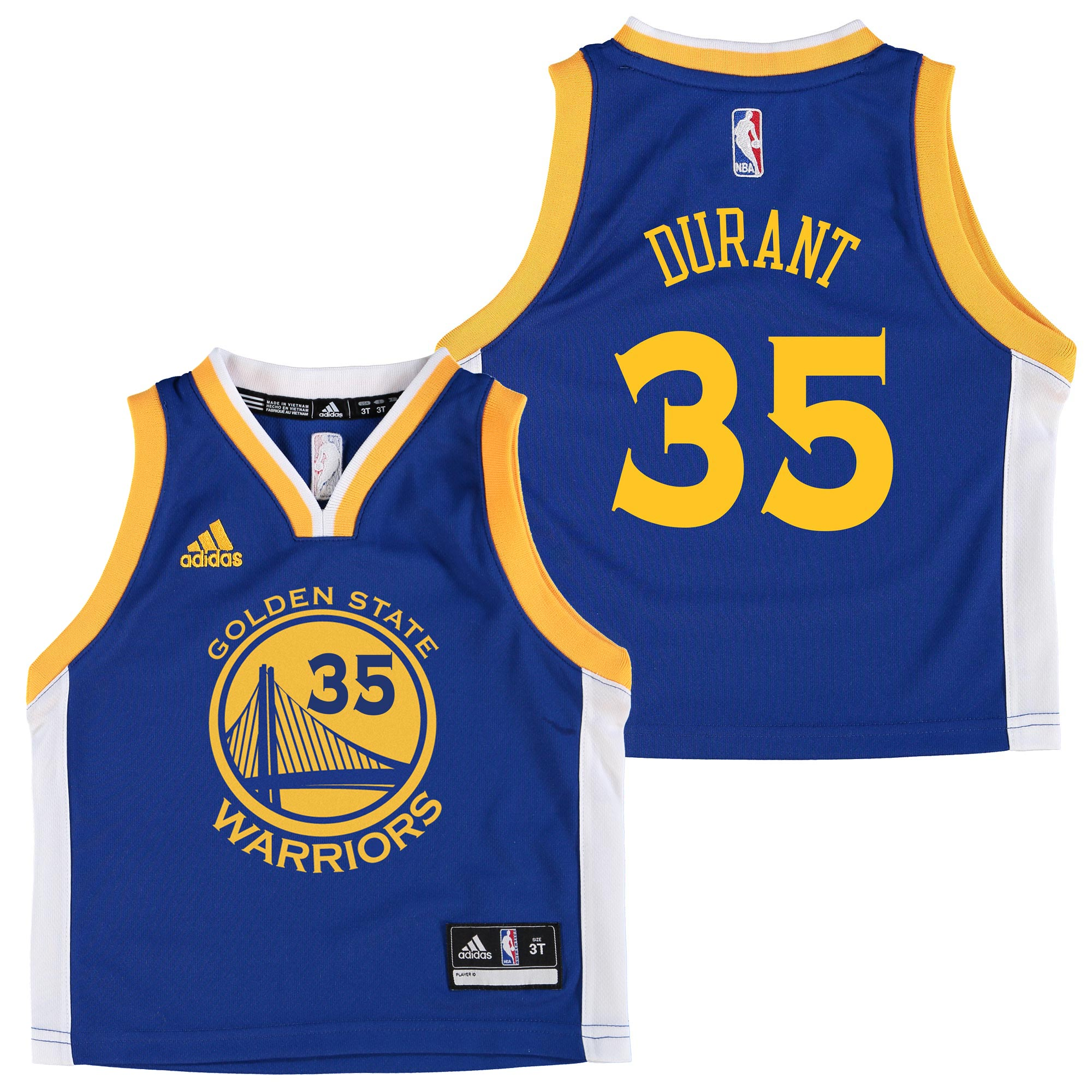 Golden State Warriors Road Replica Jersey - Kevin Durant - Toddler
