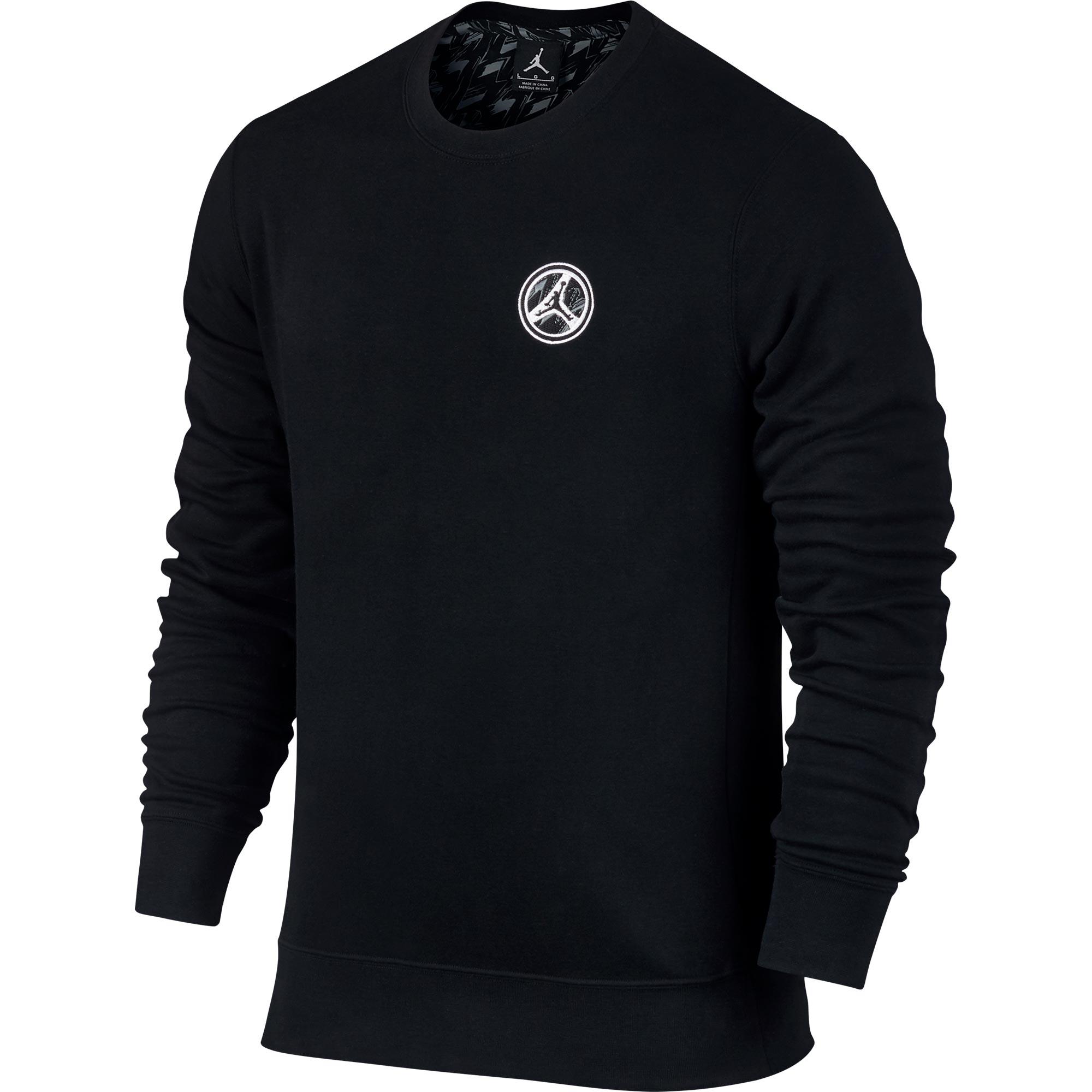 Jordan AJ 8 Fleece Crew Sweatshirt - Black/White - Mens