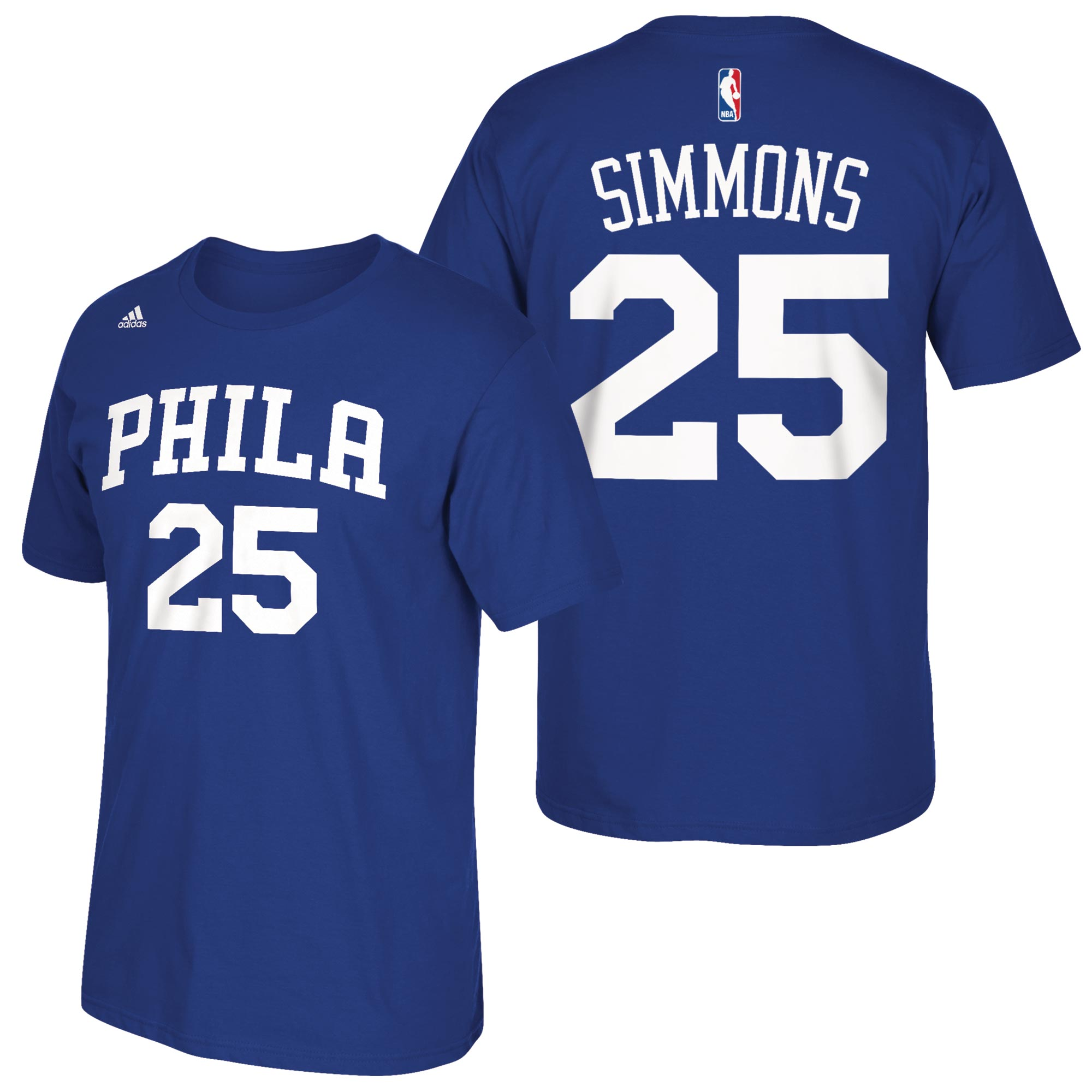 Philadelphia 76ers adidas Name & Number T-Shirt - Ben Simmons - Mens
