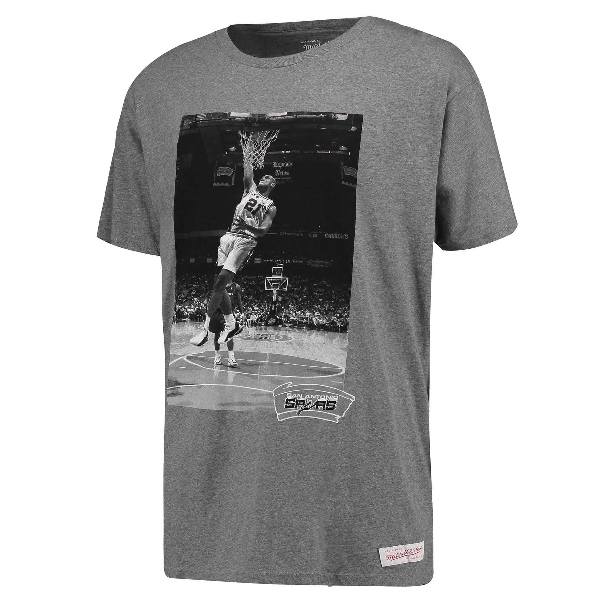 San Antonio Spurs Tim Duncan B&W Photo T-Shirt by Mitchell & Ness - Gr