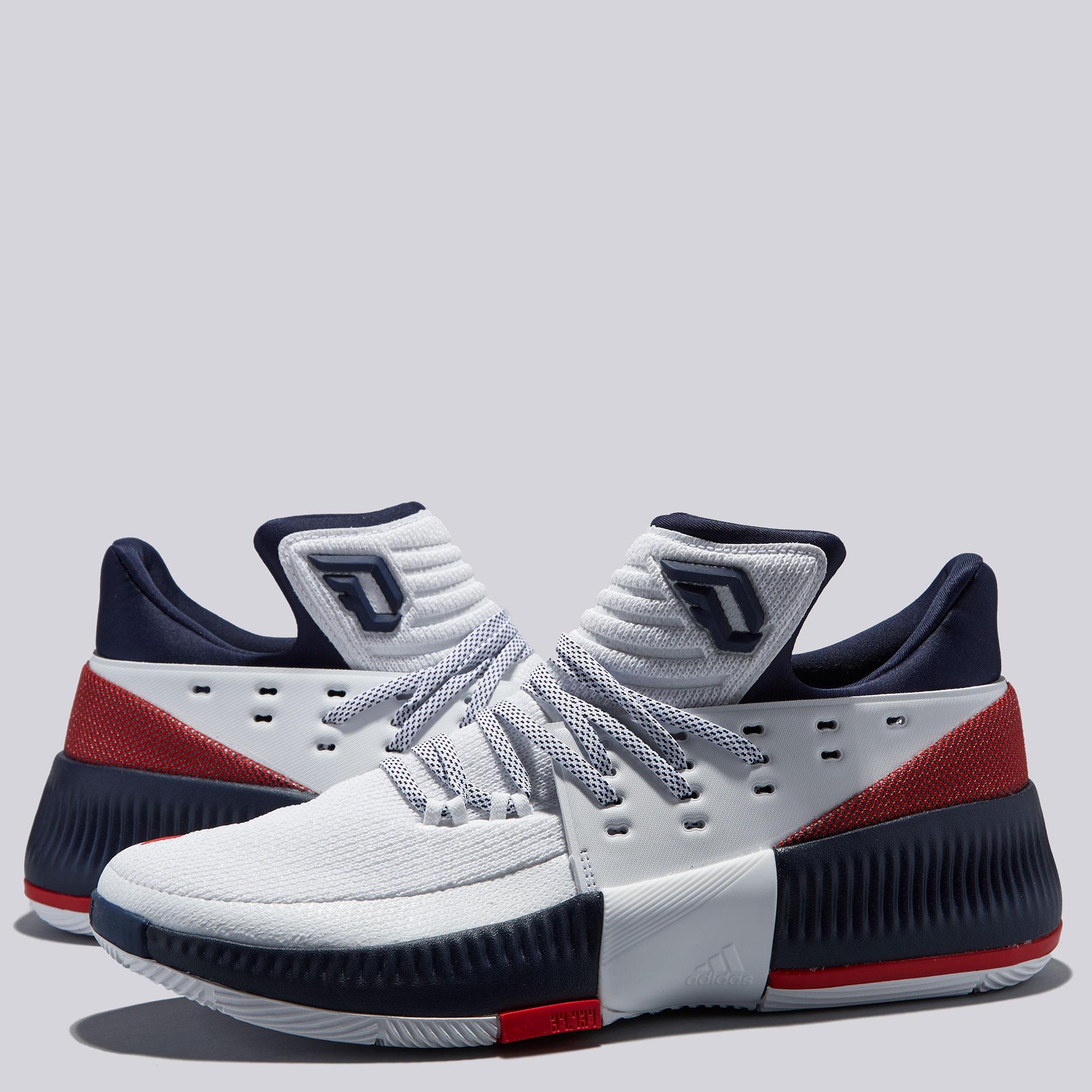 "Image of ""adidas Lillard 3 Basketball Shoe - White/Navy - Mens"""