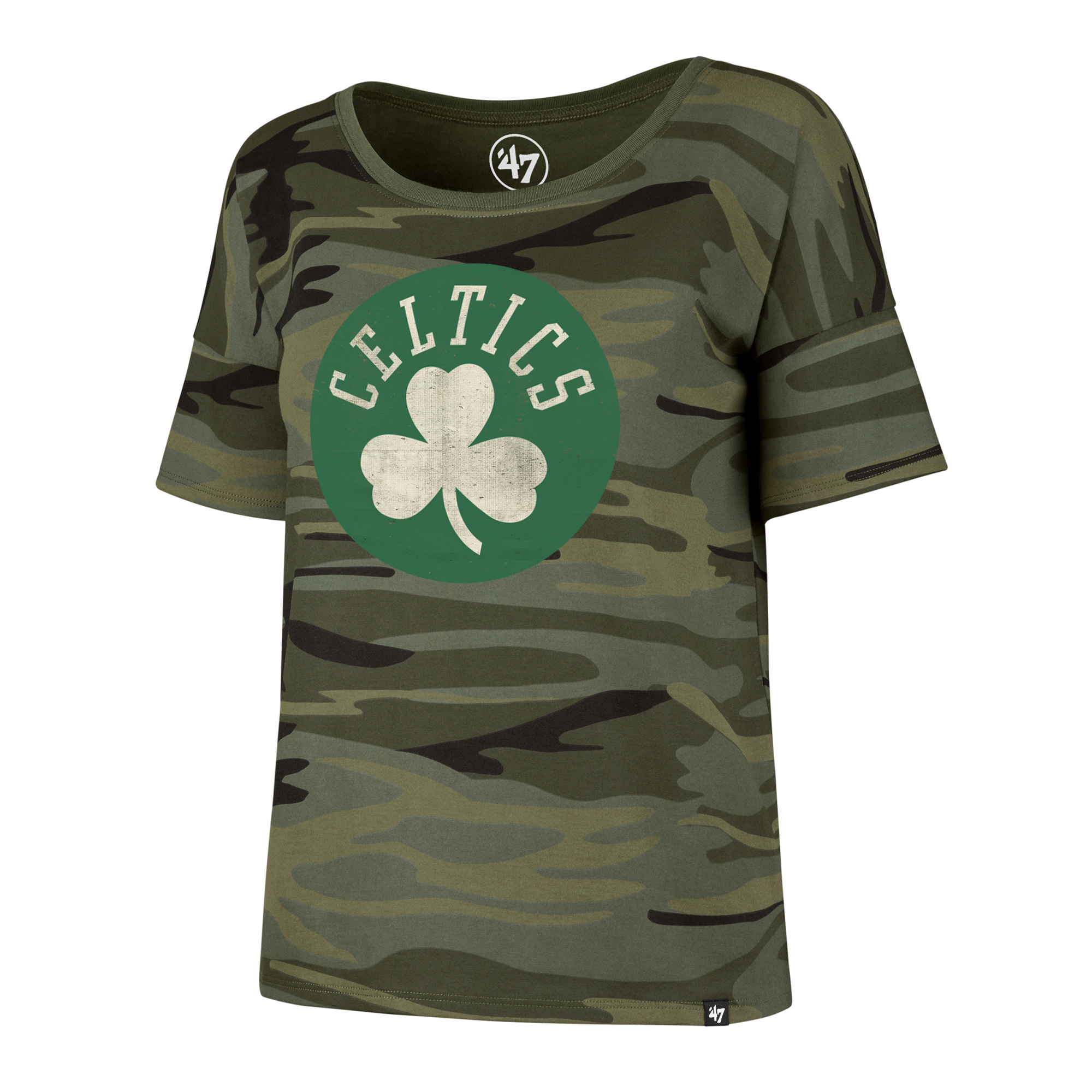 "Image of ""Boston Celtics 47 Camo Coed T-Shirt - Womens"""