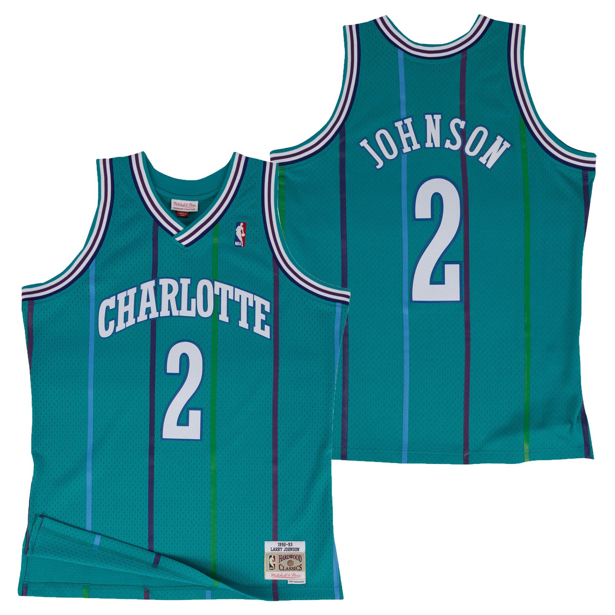 Camiseta de Larry Johnson de los Charlotte Hornets Hardwood Classics Road Swingman para hombre