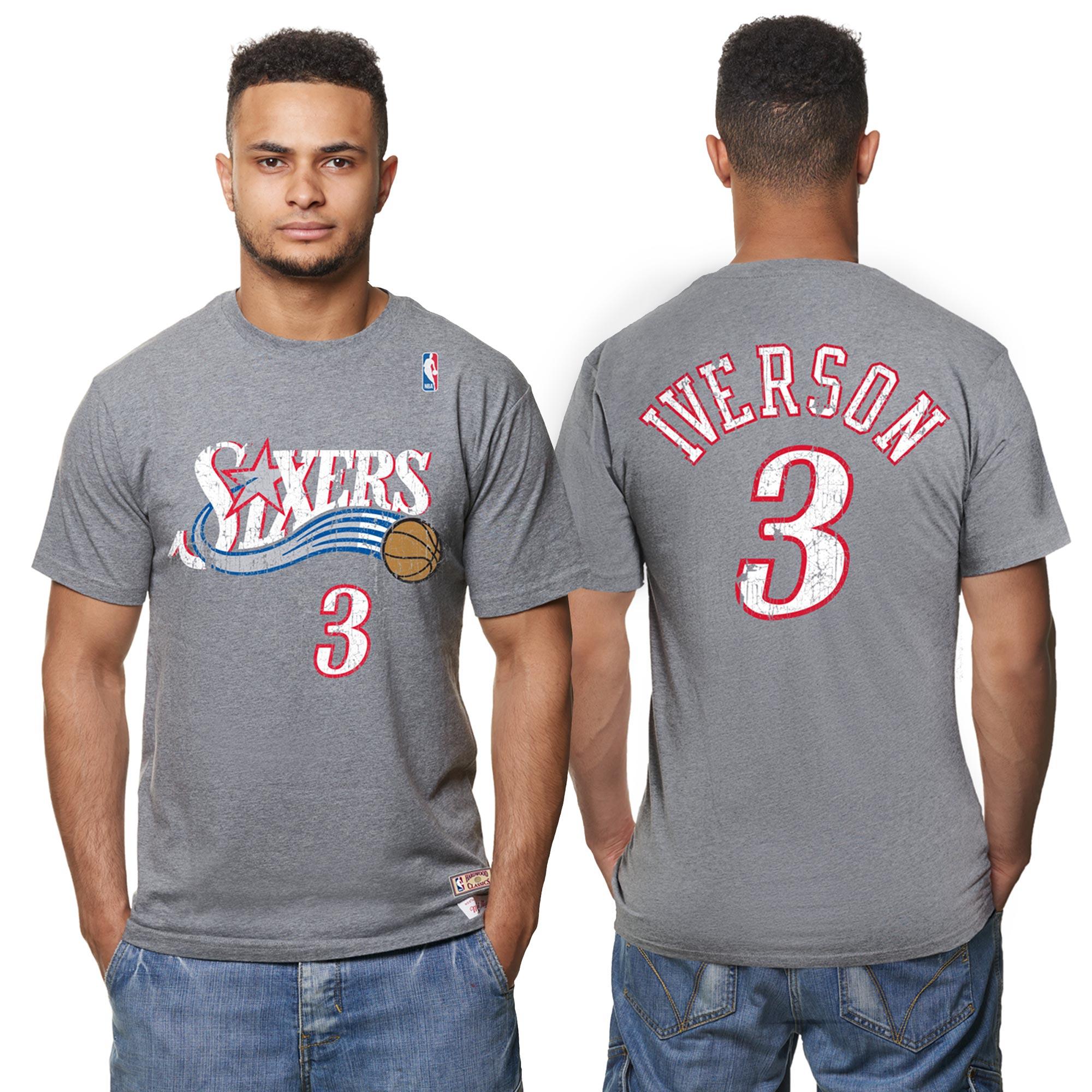 Camiseta Hardwood Classics de Allen Iverson de los Philadelphia 76ers con nombre y número del jugador estampados con efecto desgastado para hombre