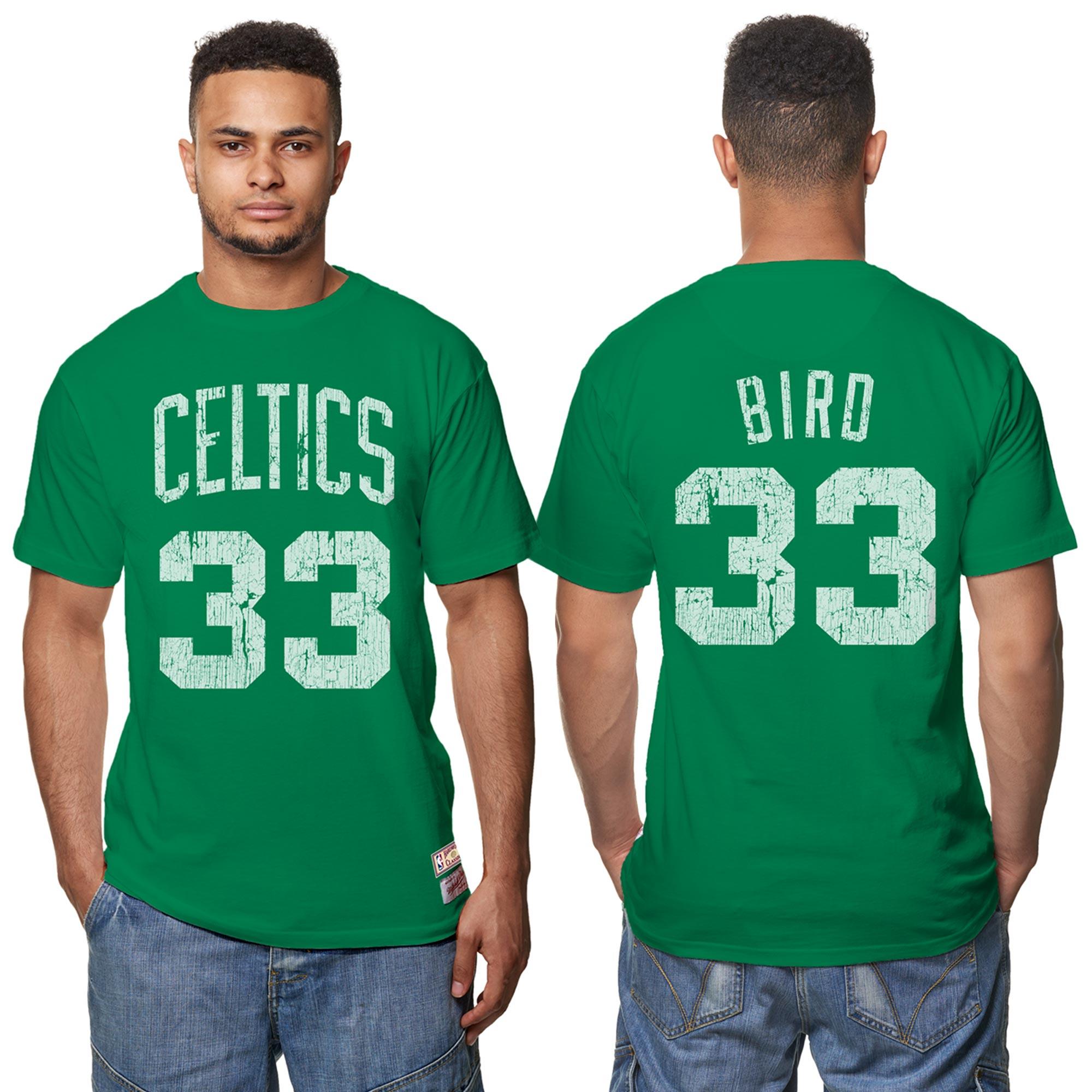 Camiseta Hardwood Classics de Larry Bird de los Boston Celtics con nombre y número del jugador estampados con efecto desgastado para hombre