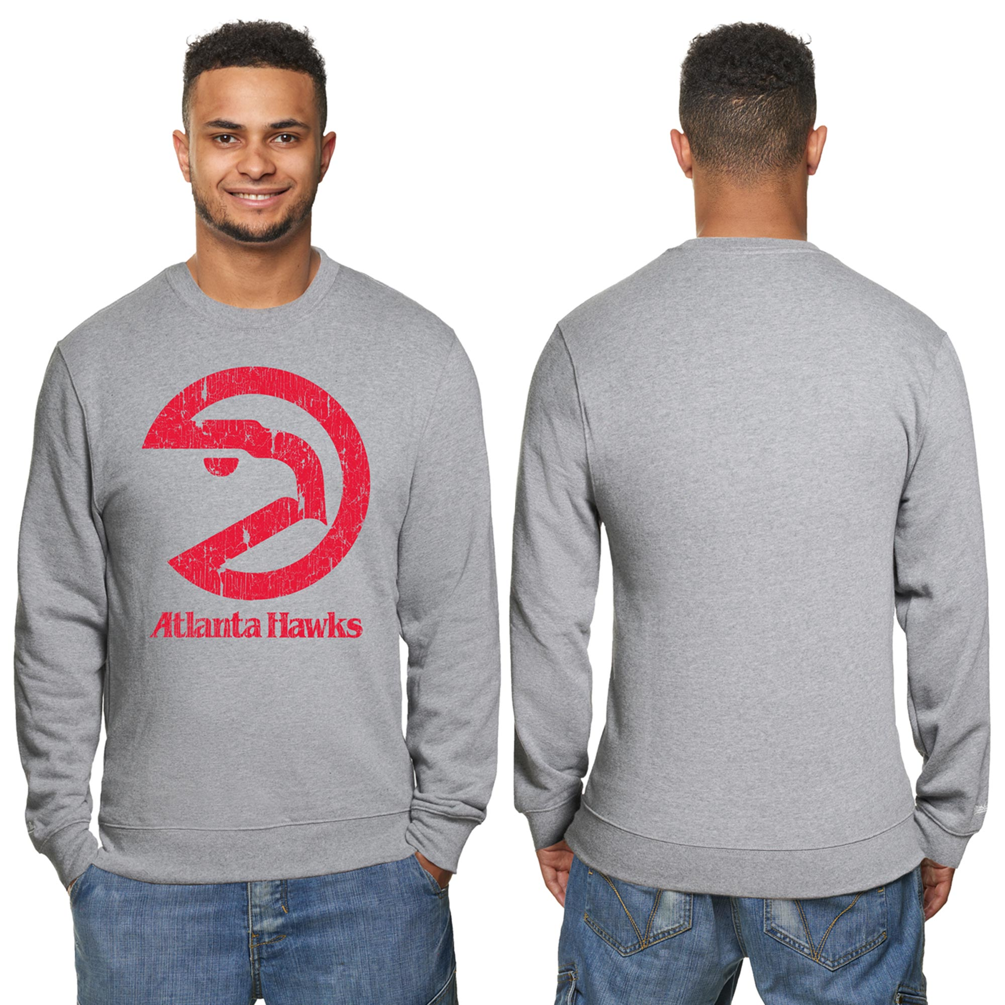 "Image of ""Atlanta Hawks Hardwood Classics Distressed Print Crew Neck Sweatshirt - Grey Heather - Mens"""