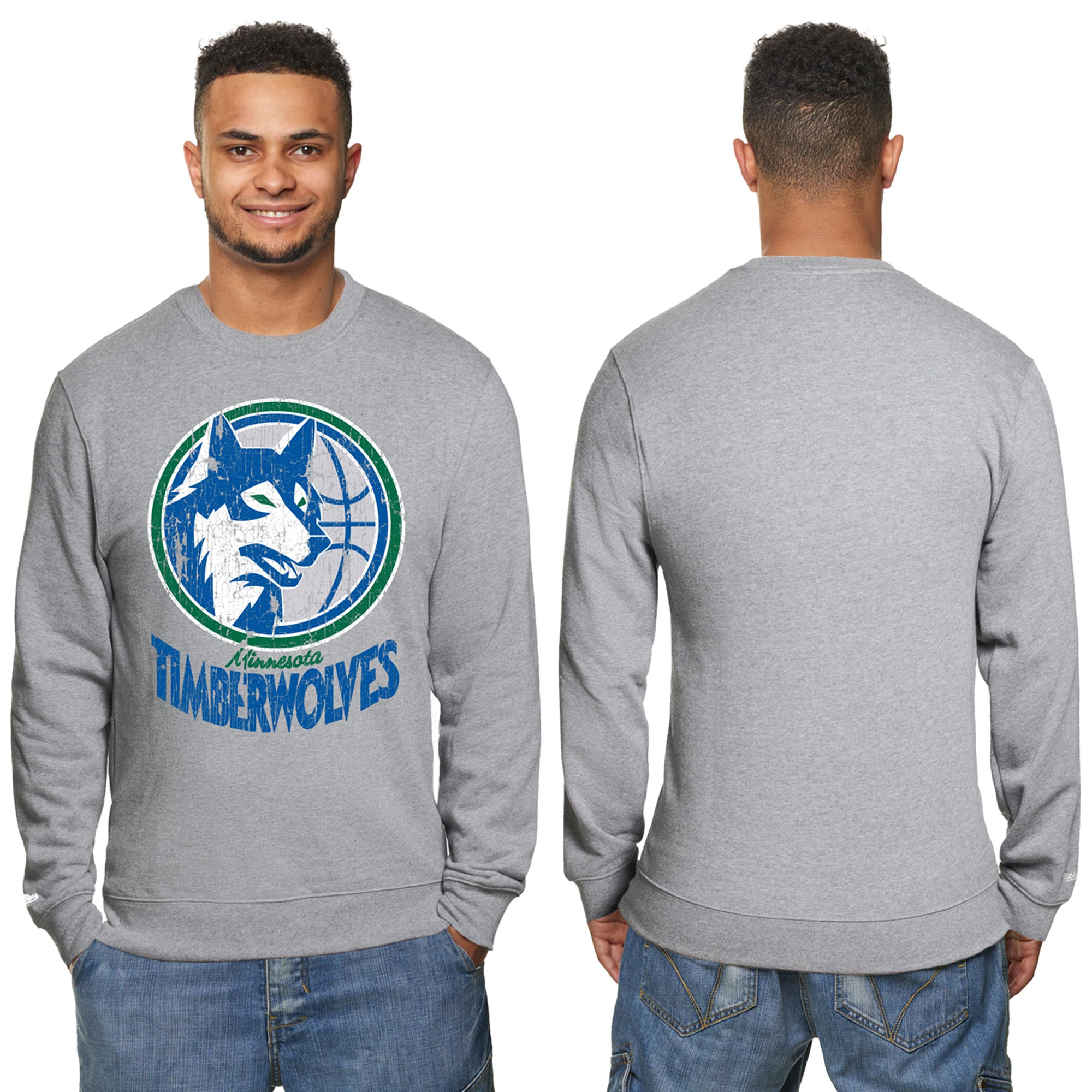 Sudadera con cuello redondo Hardwood Classics de los Minnesota Timberwolves con efecto desgastado para hombre