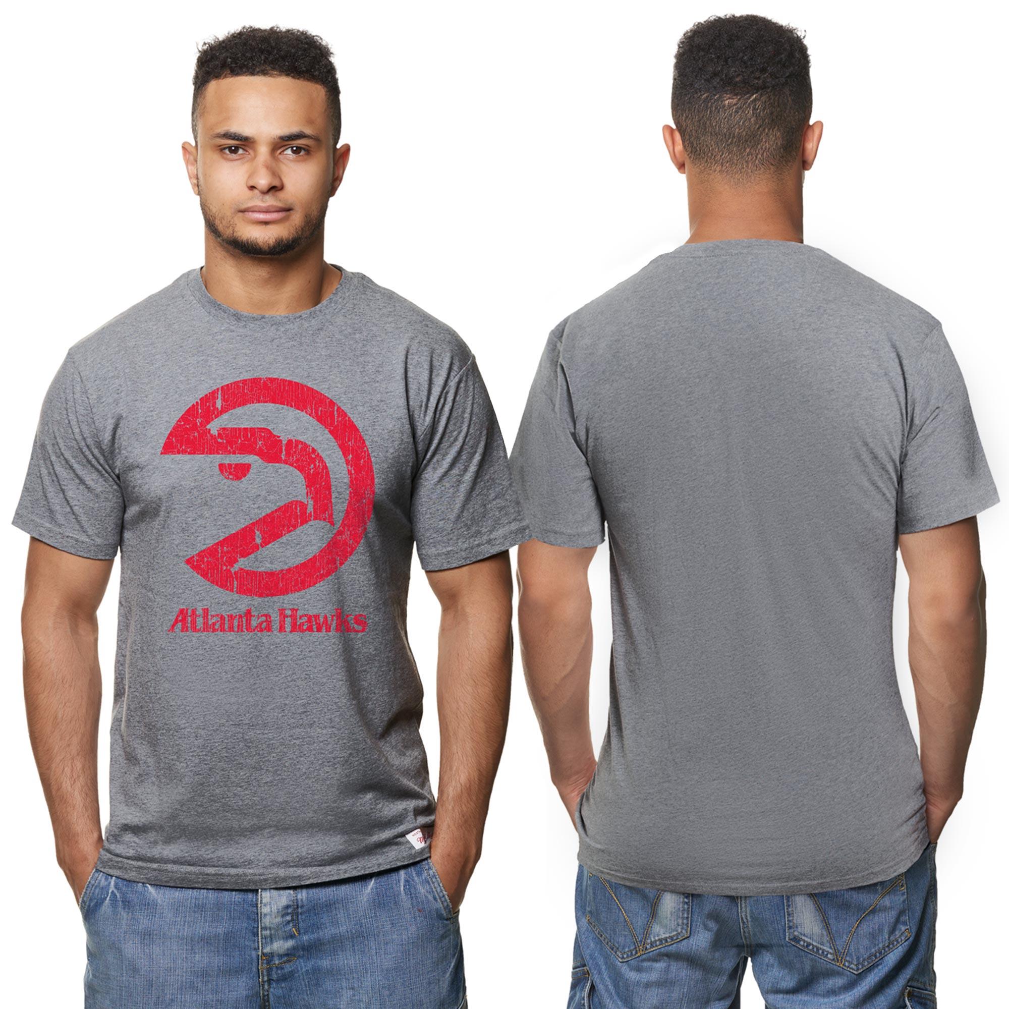 "Image of ""Atlanta Hawks Hardwood Classics Distressed Print T-Shirt- Grey Heather - Mens"""