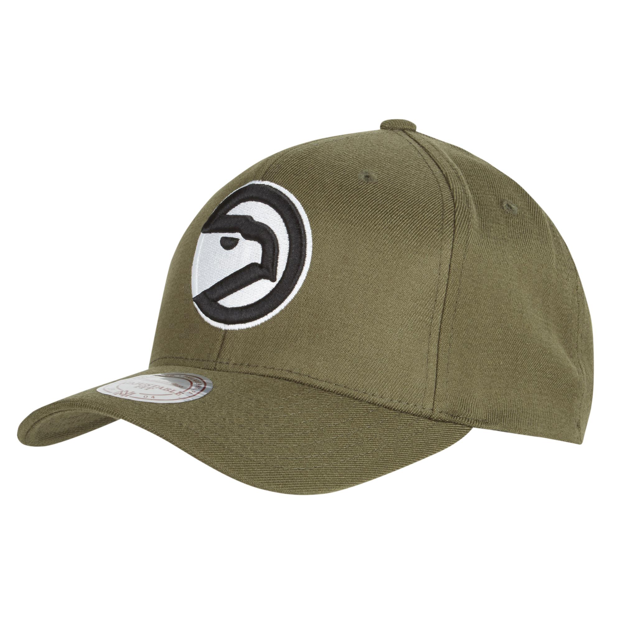 Gorra con cierre a presión y logotipo del equipo Atlanta Hawks Hardwood Classics en tono oliva