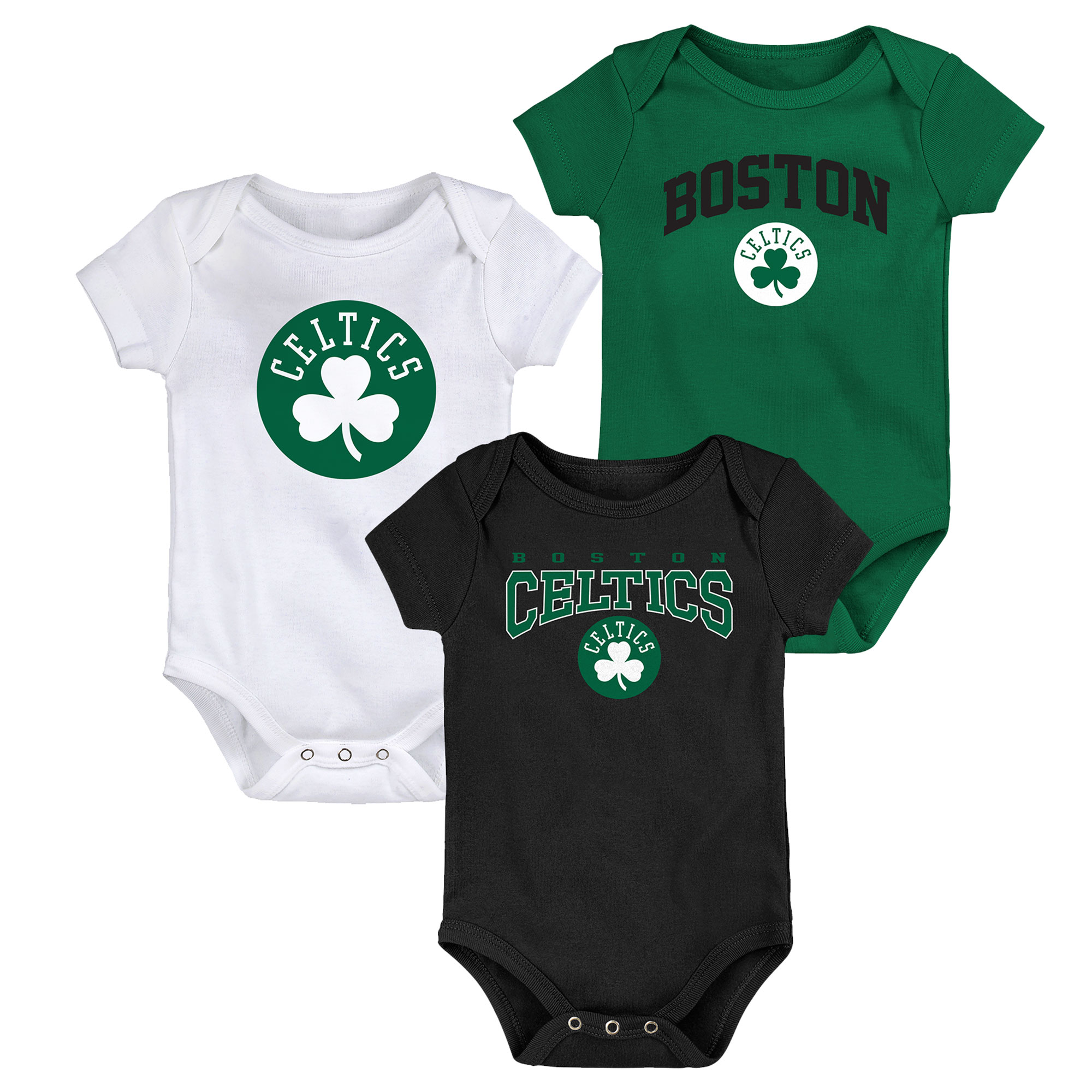 "Image of ""Boston Celtics 3 Piece Bodysuit Set - Newborn"""