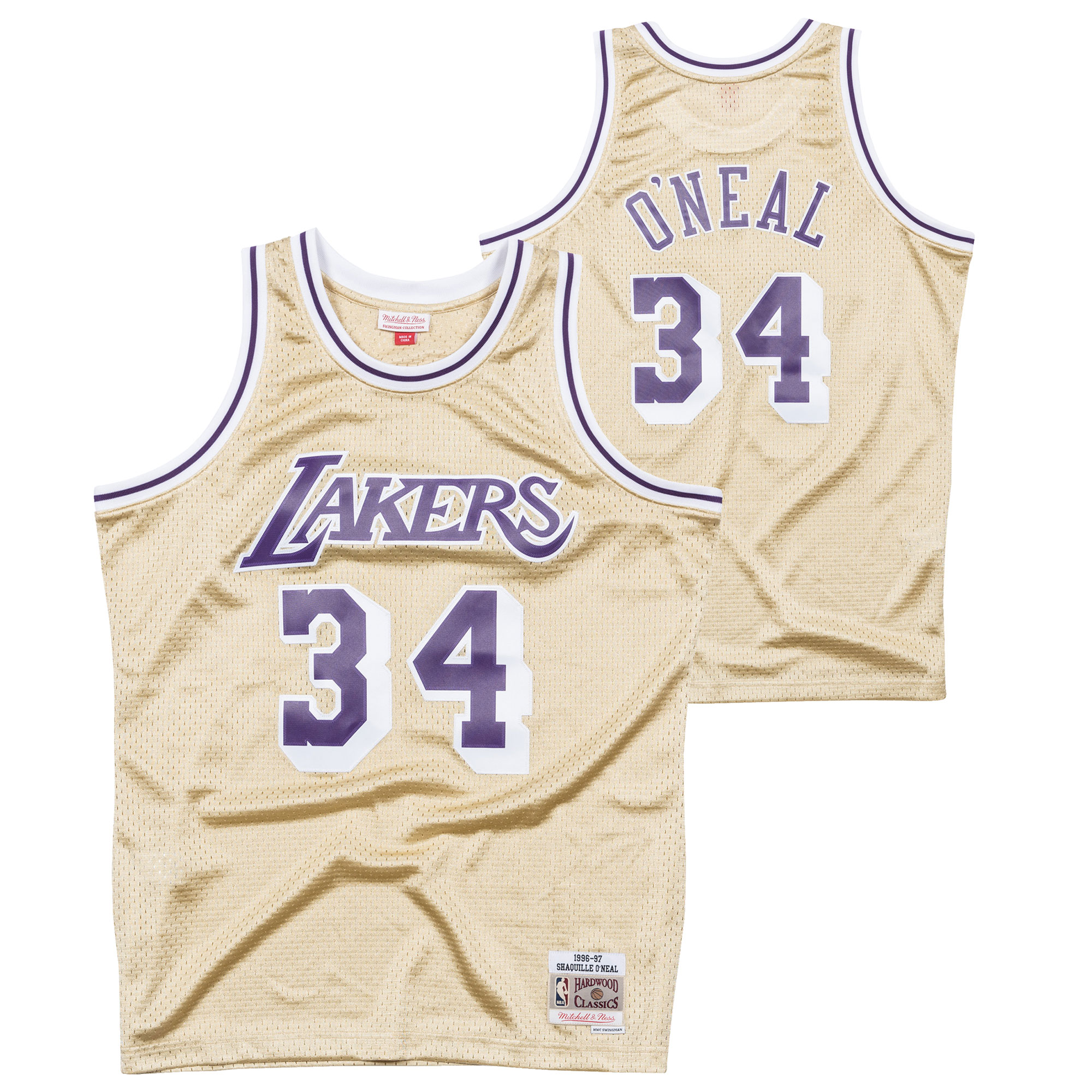 """Los Angeles Lakers Shaquille O Neal Hardwood Classics 1997 Gold Swingman Jersey - Mens"""