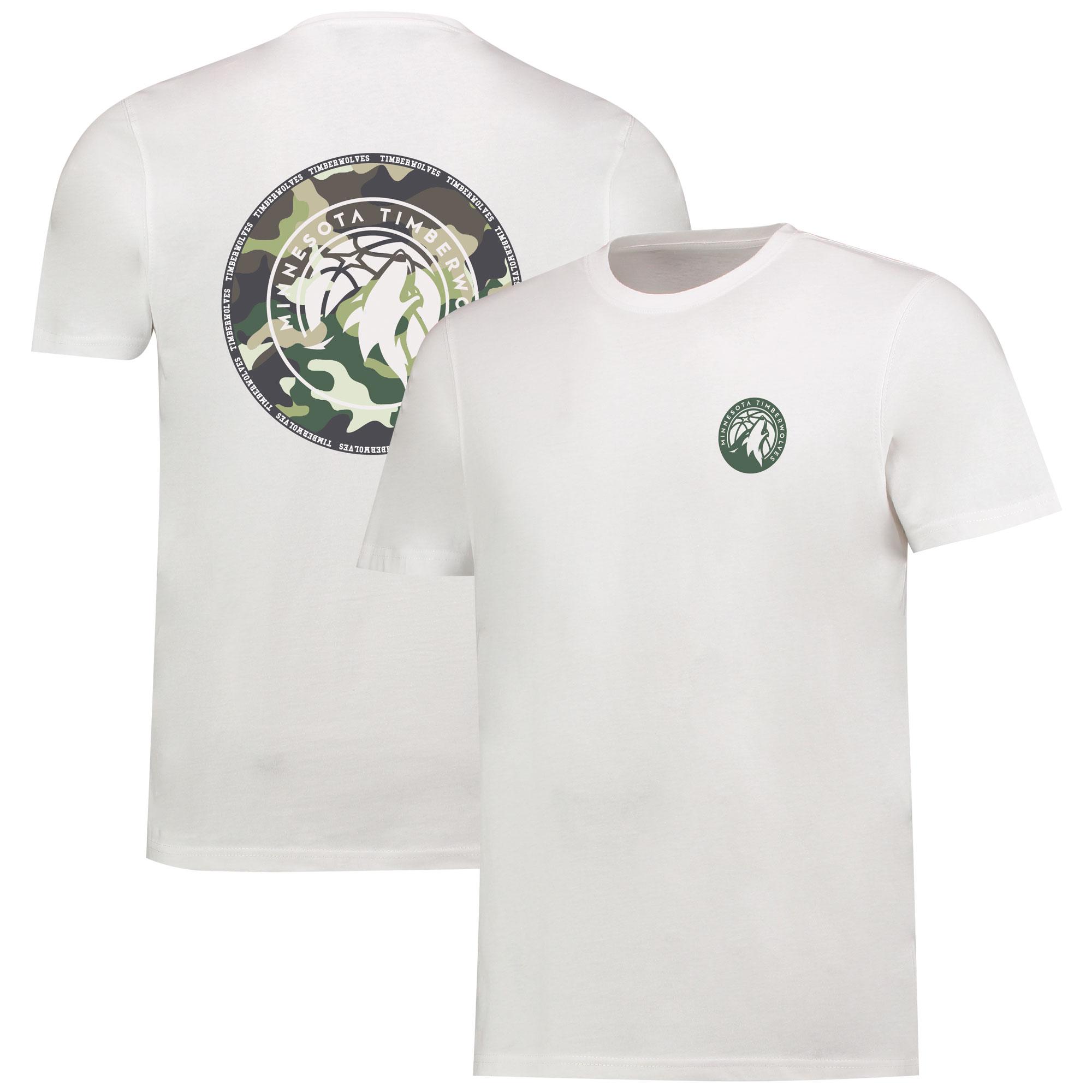 Camiseta de camuflaje con logotipo de los Minnesota Timberwolves en el centro en blanco para hombre