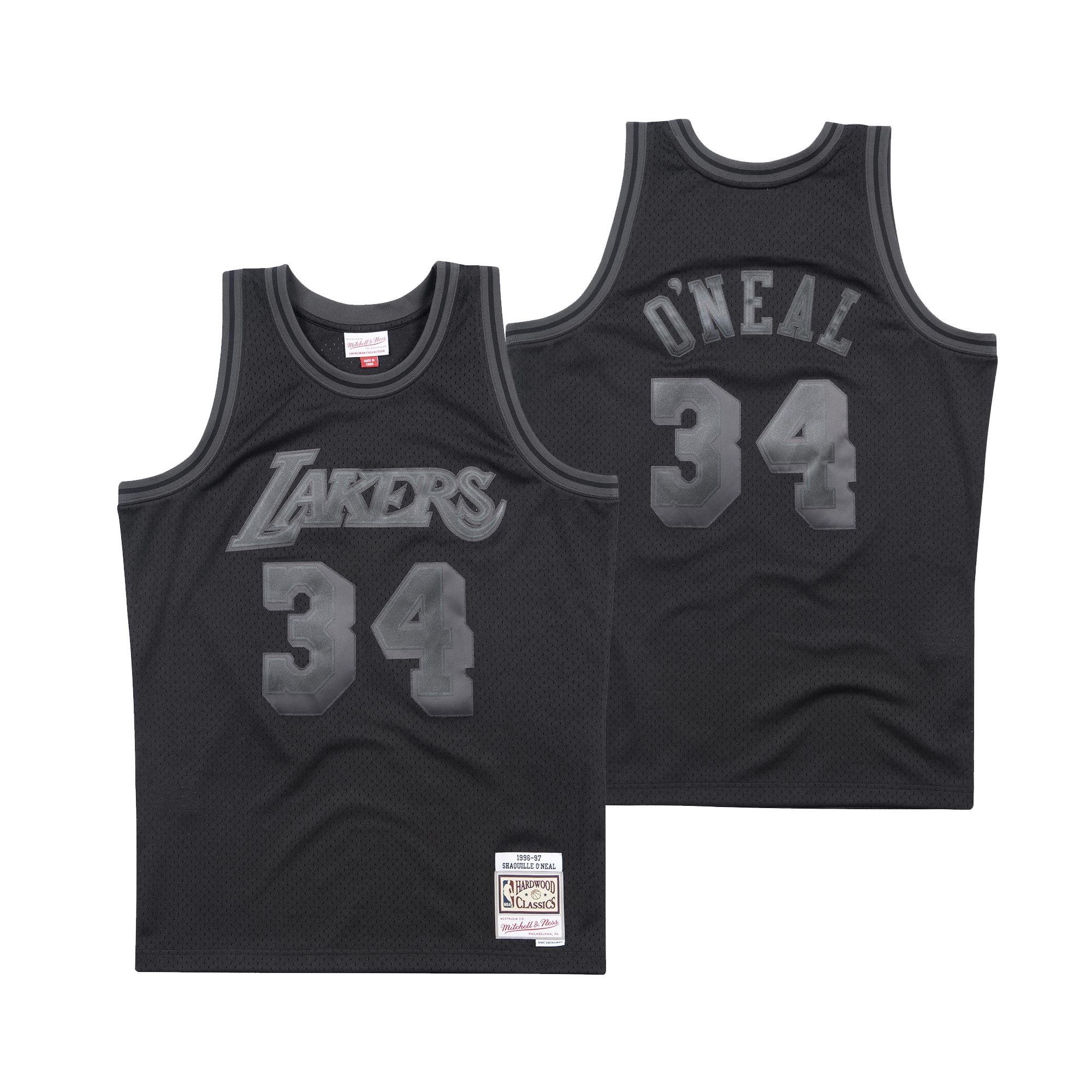 """Los Angeles Lakers Back to Black Shaquille ONeal Swingman Jersey By Mitchell & Ness - Mens"""