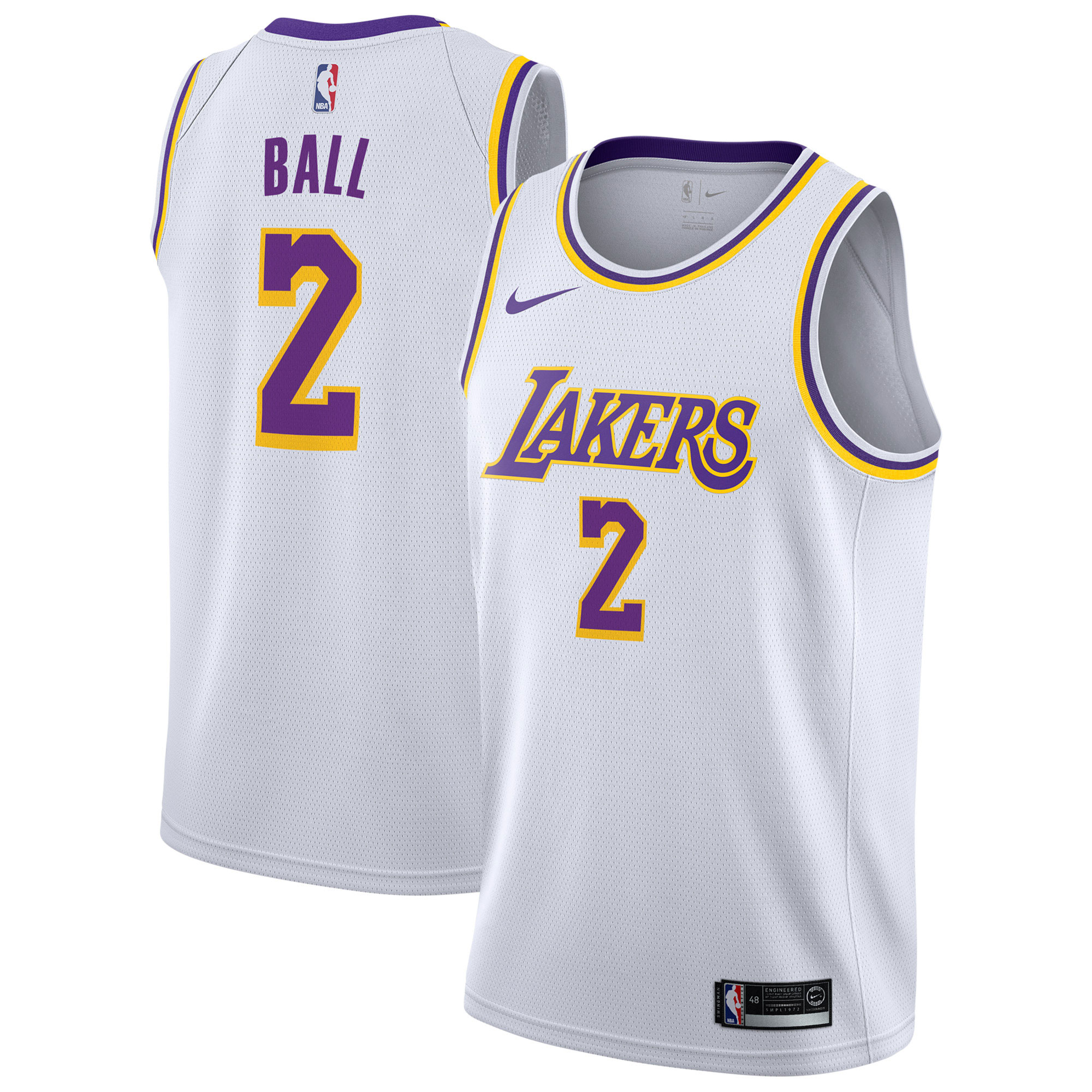 """Los Angeles Lakers Nike Association Swingman Jersey - Lonzo Ball - Mens"""