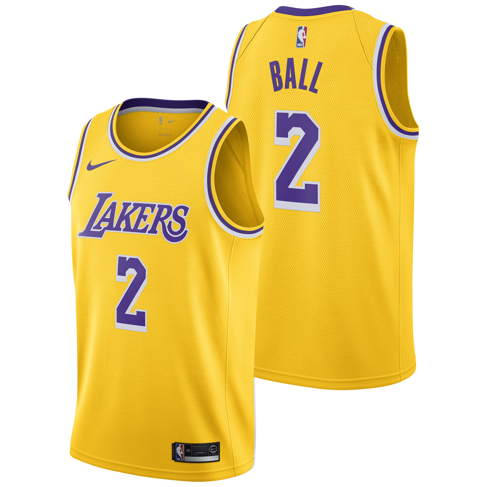 """Los Angeles Lakers Nike Icon Swingman Jersey - Lonzo Ball - Mens"""
