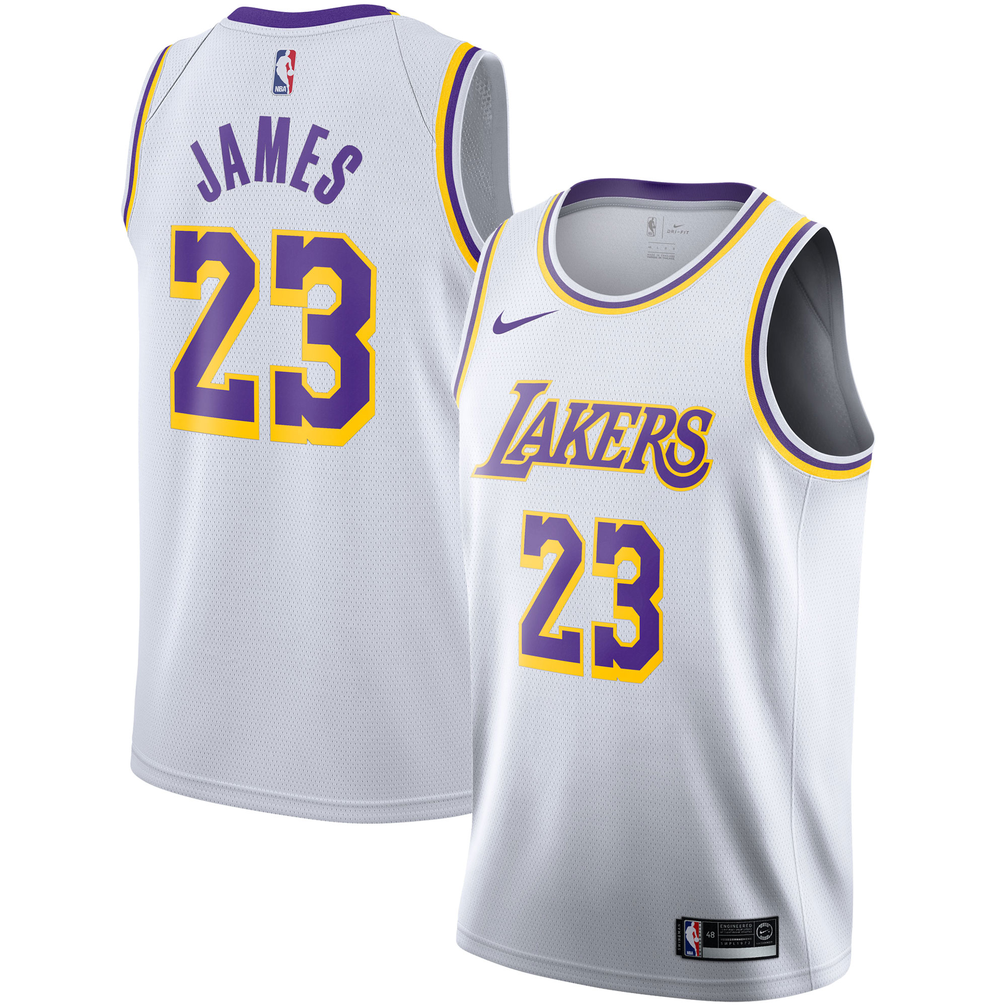 """Los Angeles Lakers Nike Association Swingman Jersey - LeBron James - Mens"""
