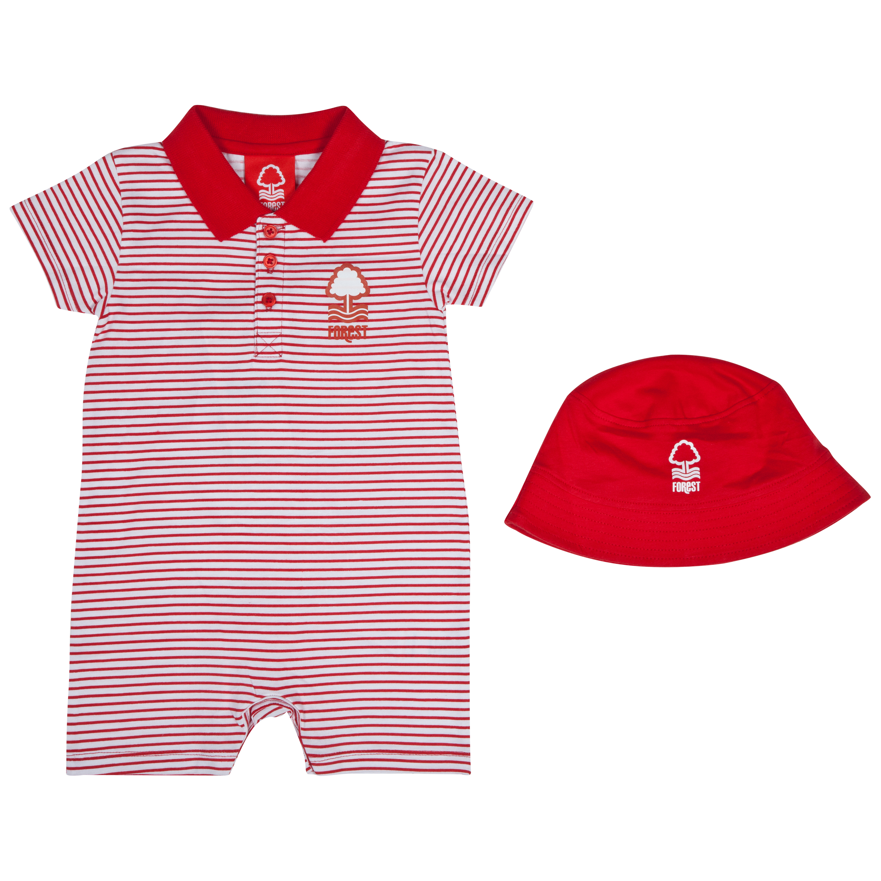 Nottingham Forest Polo Romper and Hat - White/Red - Baby