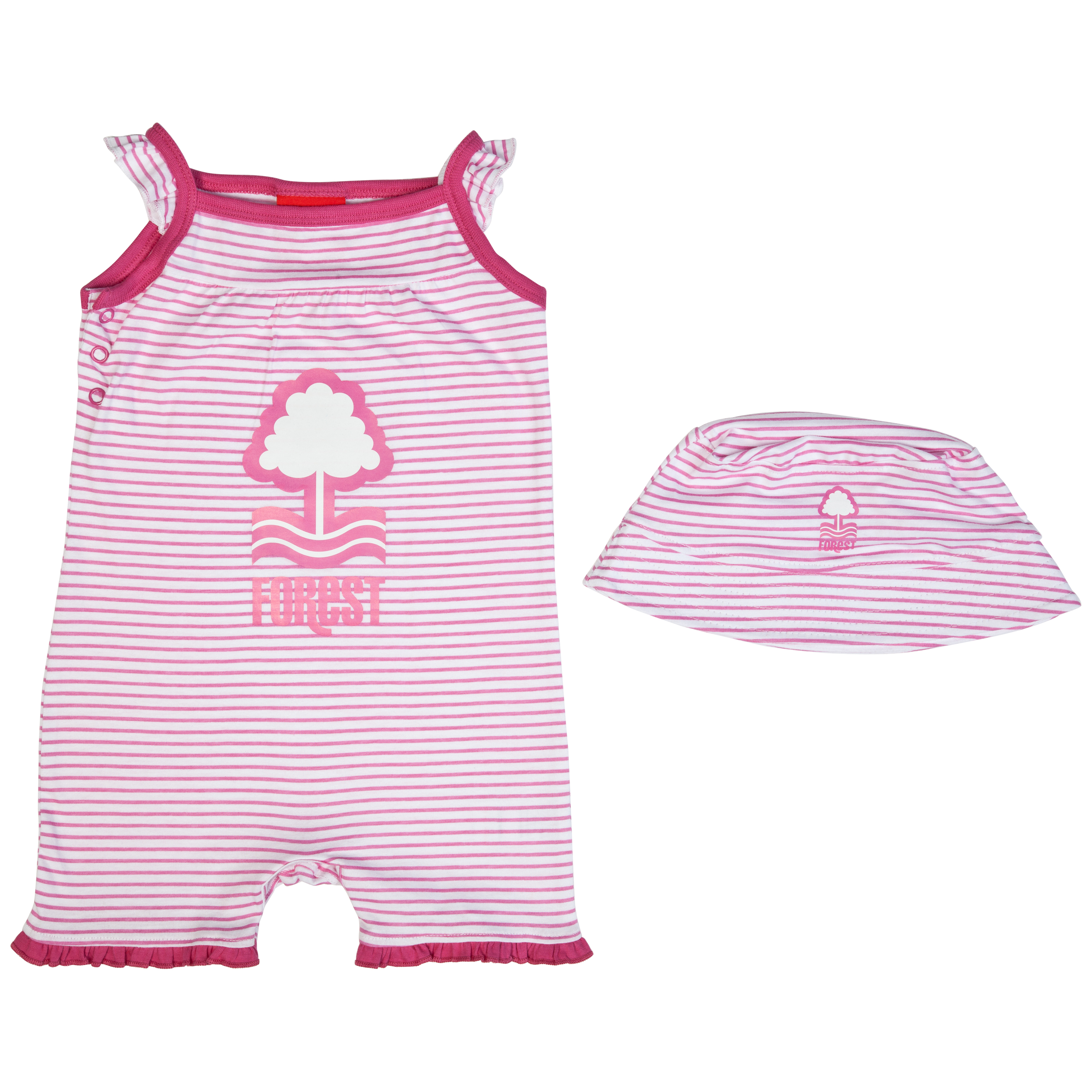 Nottingham Forest Crest Romper and Hat -White/Pink	 - Baby