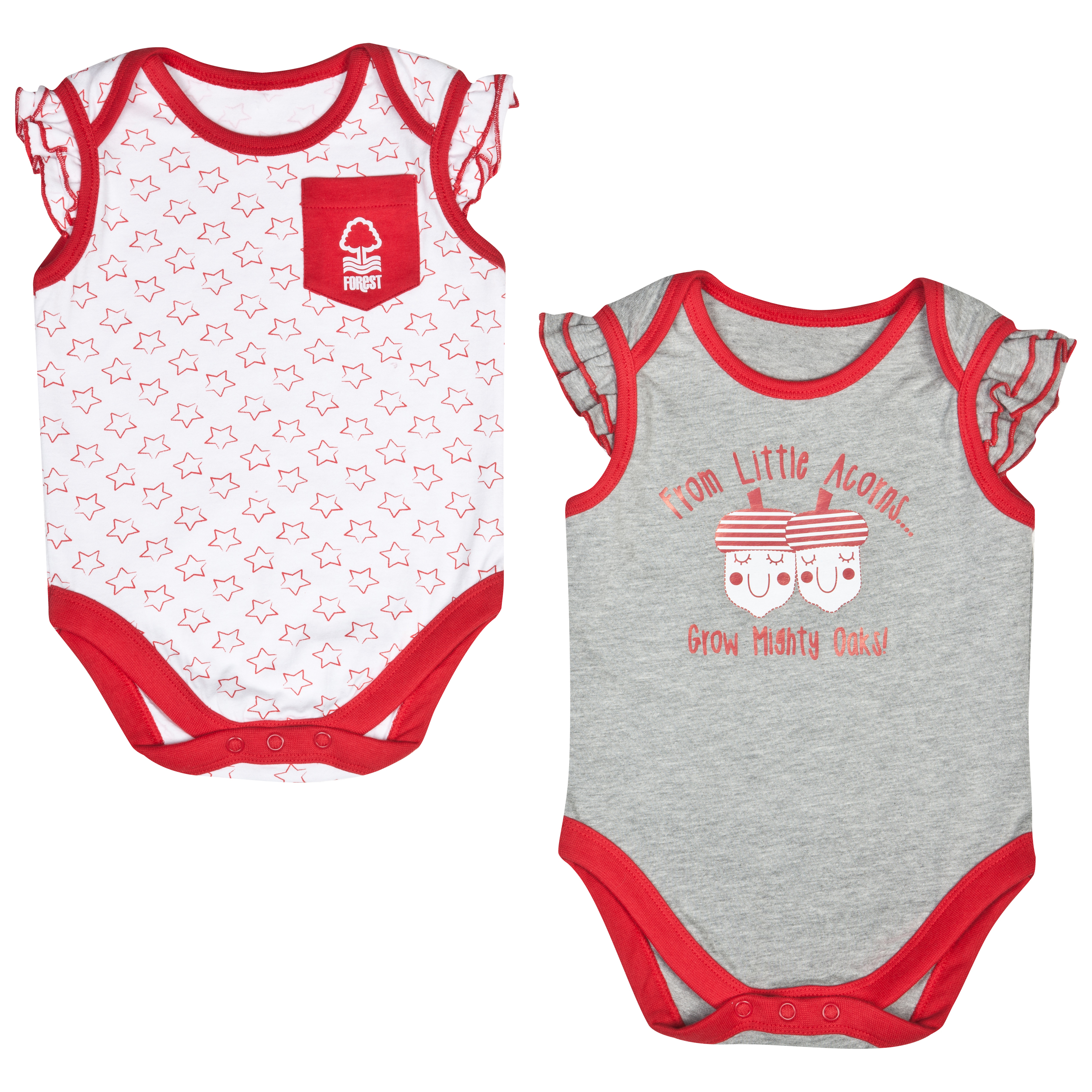 Nottingham Forest Acorns Pack of 2 Bodysuits - Red/Grey/White - Baby