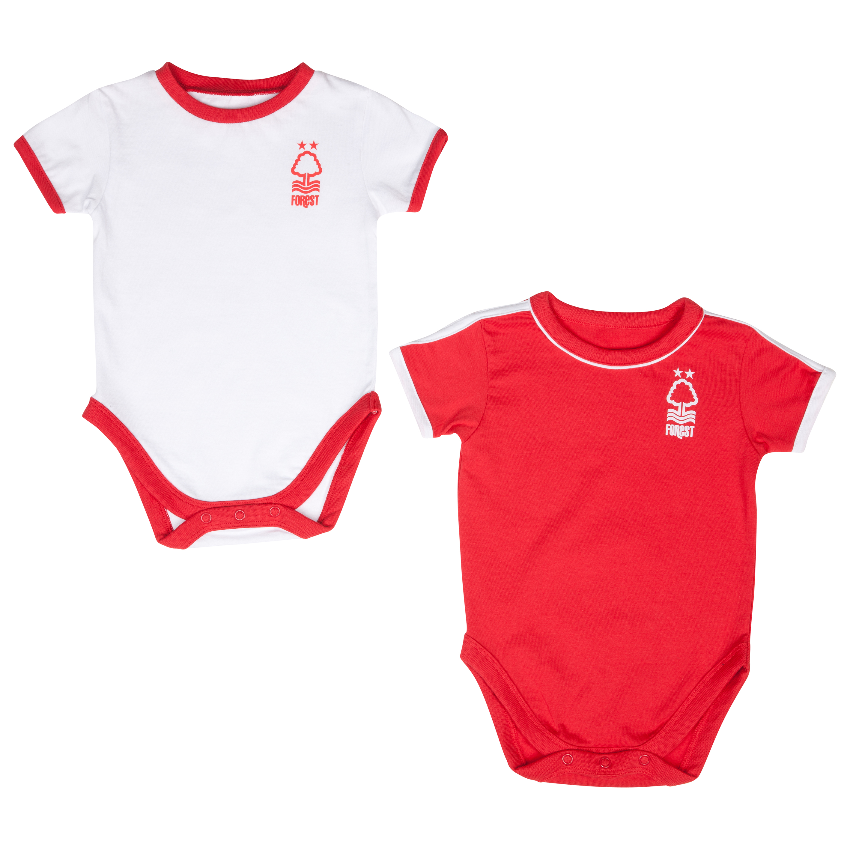 Nottingham Forest 12/14 Kit Pack of 2 Bodysuits - Red/White - Baby