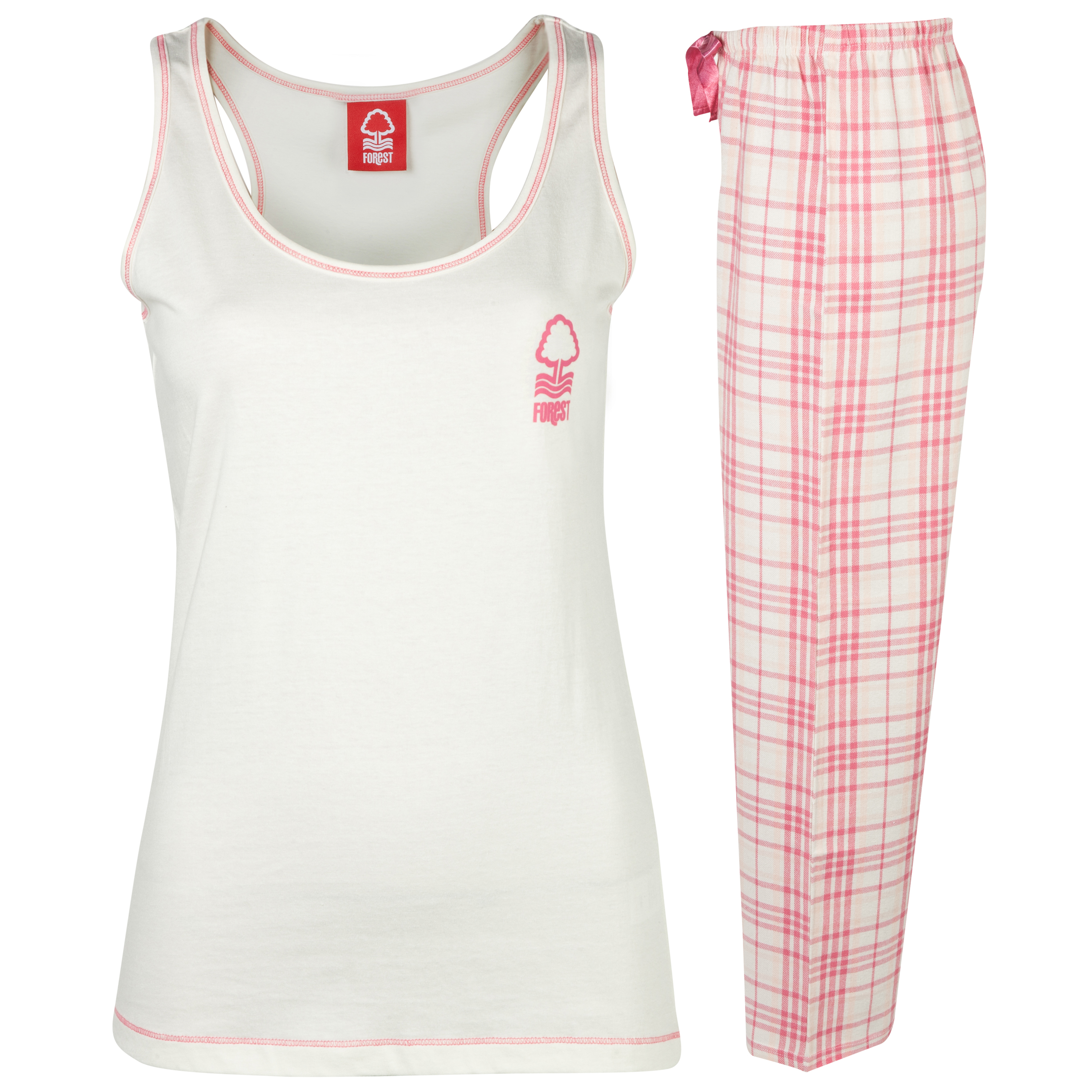 Nottingham Forest Check Pyjamas Womens Pink