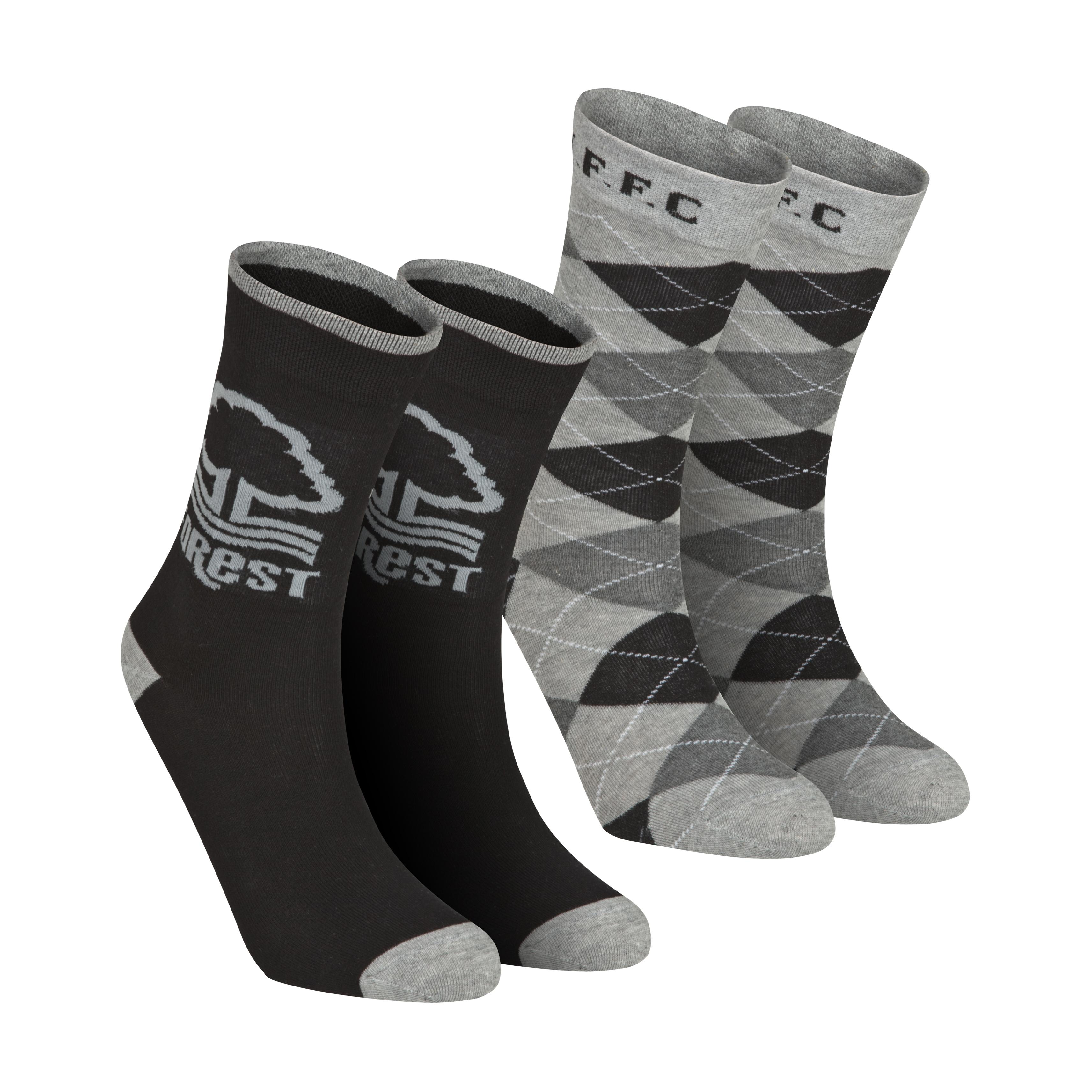 Nottingham Forest Pack of 2 Dress Socks - Black/Grey - Boys