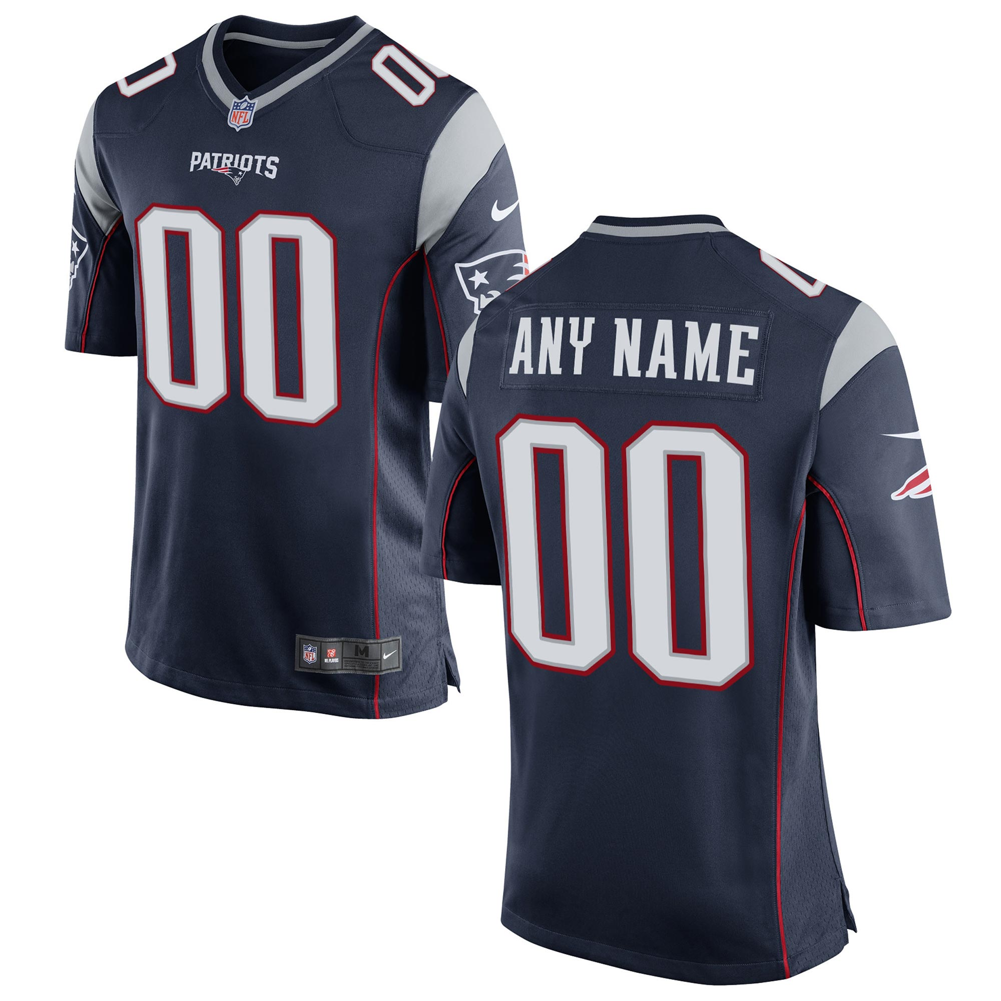 New England Patriots Replica Home Jersey - Custom Navy