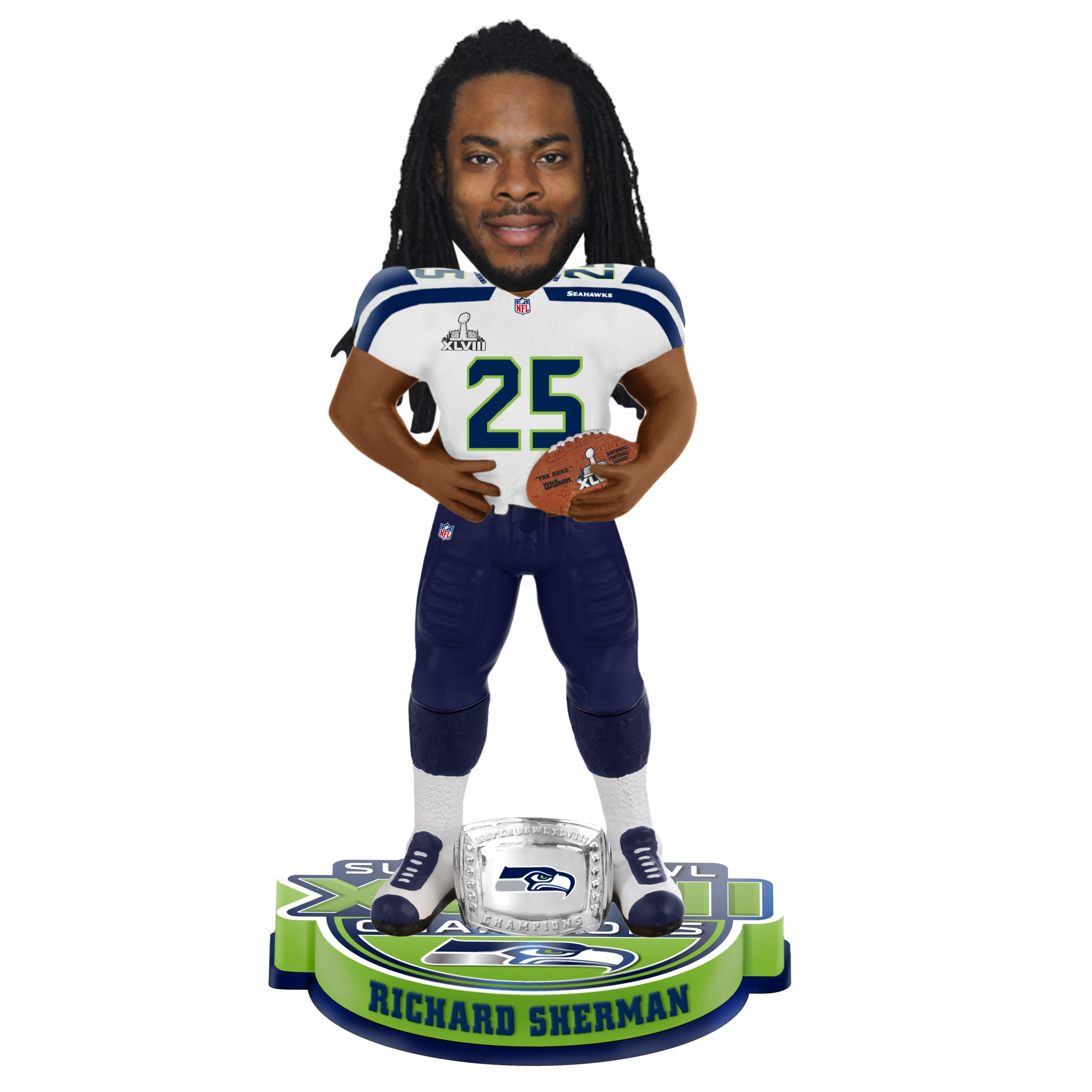Seattle Seahawks Richard Sherman Super Bowl XLVIII Champions Bobblehead