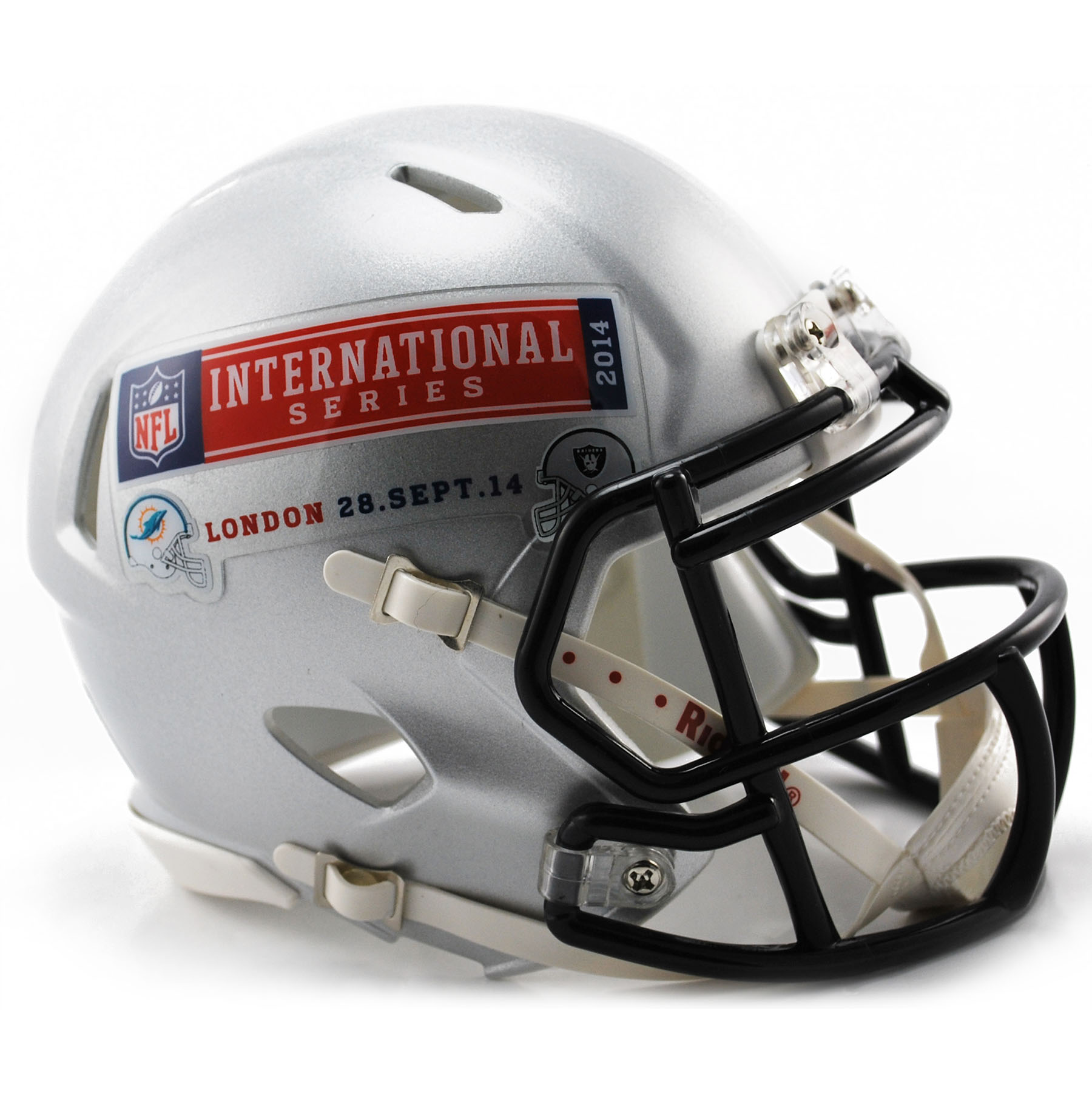 NFL Dolphins Vs Raiders ISG 2014 VSR4 Mini Helmet