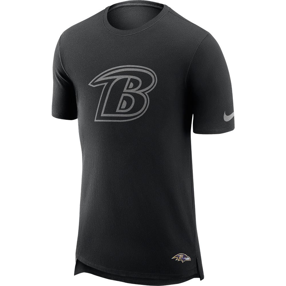 Baltimore Ravens T-Shirt in Enzymwaschung mit verlängertem Rücken – Herren