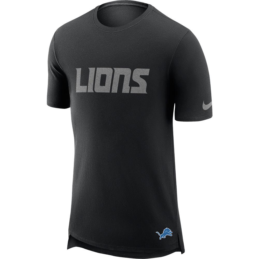 Detroit Lions T-Shirt in Enzymwaschung mit verlängertem Rücken – Herren