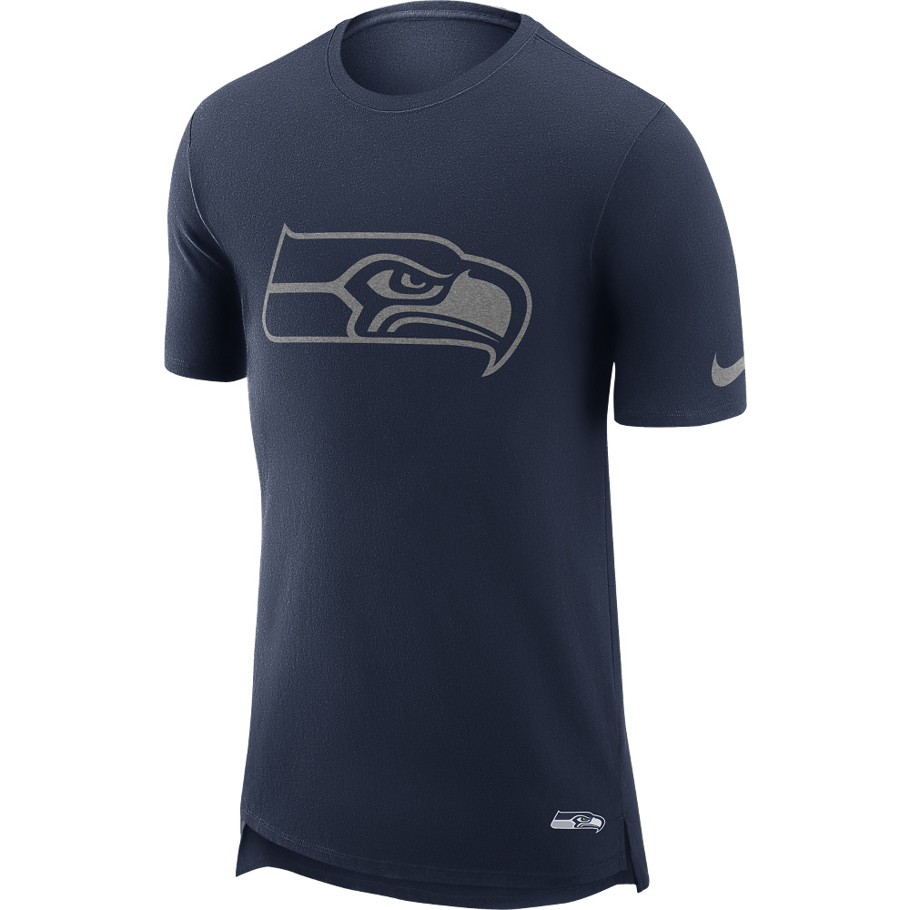 Seattle Seahawks T-Shirt in Enzymwaschung mit verlängertem Rücken – Herren