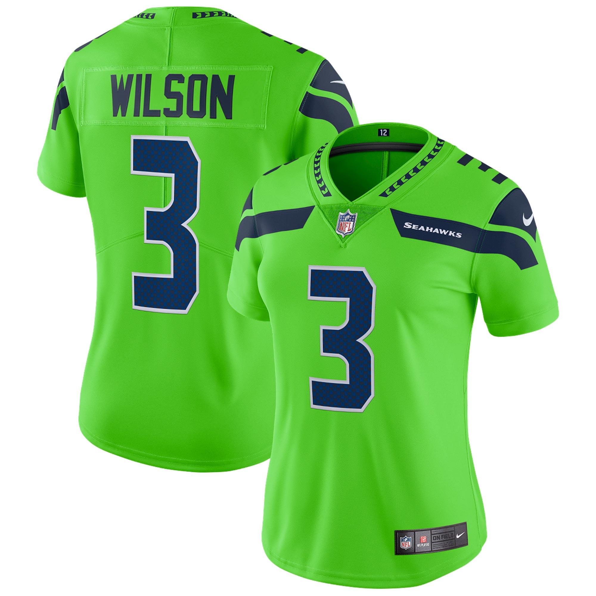 Seattle Seahawks Russell Wilson Color Rush Jersey, limitierte Auflage – Damen