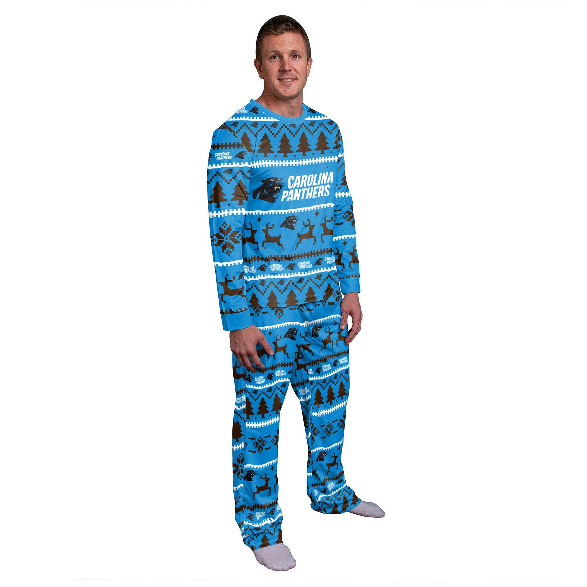 Carolina Panthers Wordmark Crewneck Pyjama Set - Mens
