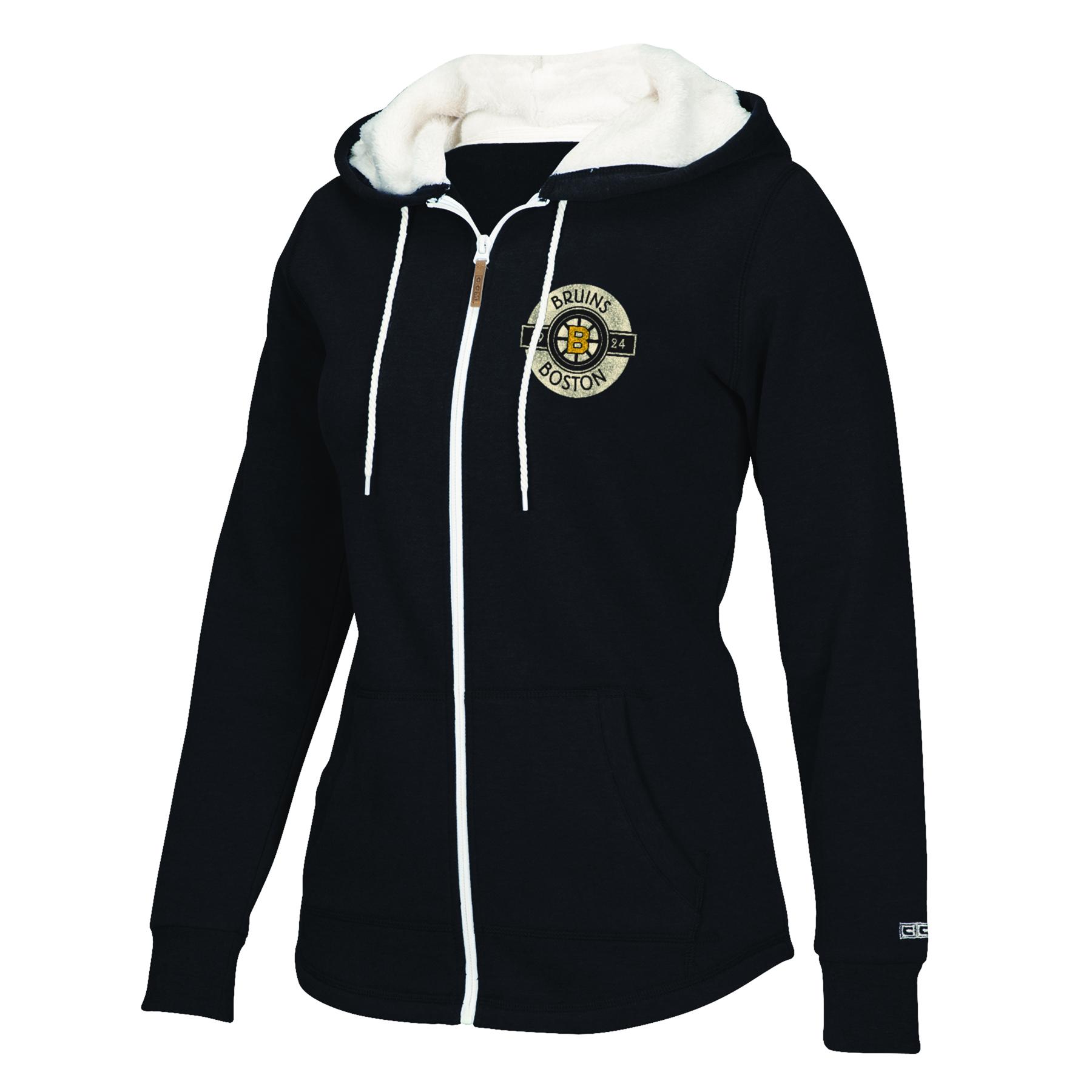 Boston Bruins CCM Full Zip Plush Hoodie - Womens