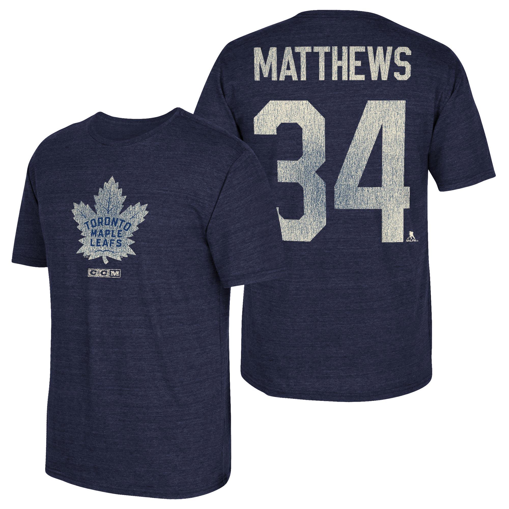 Toronto Maple Leafs CCM Auston Matthews Tri-Blend Name & Number T-Shir