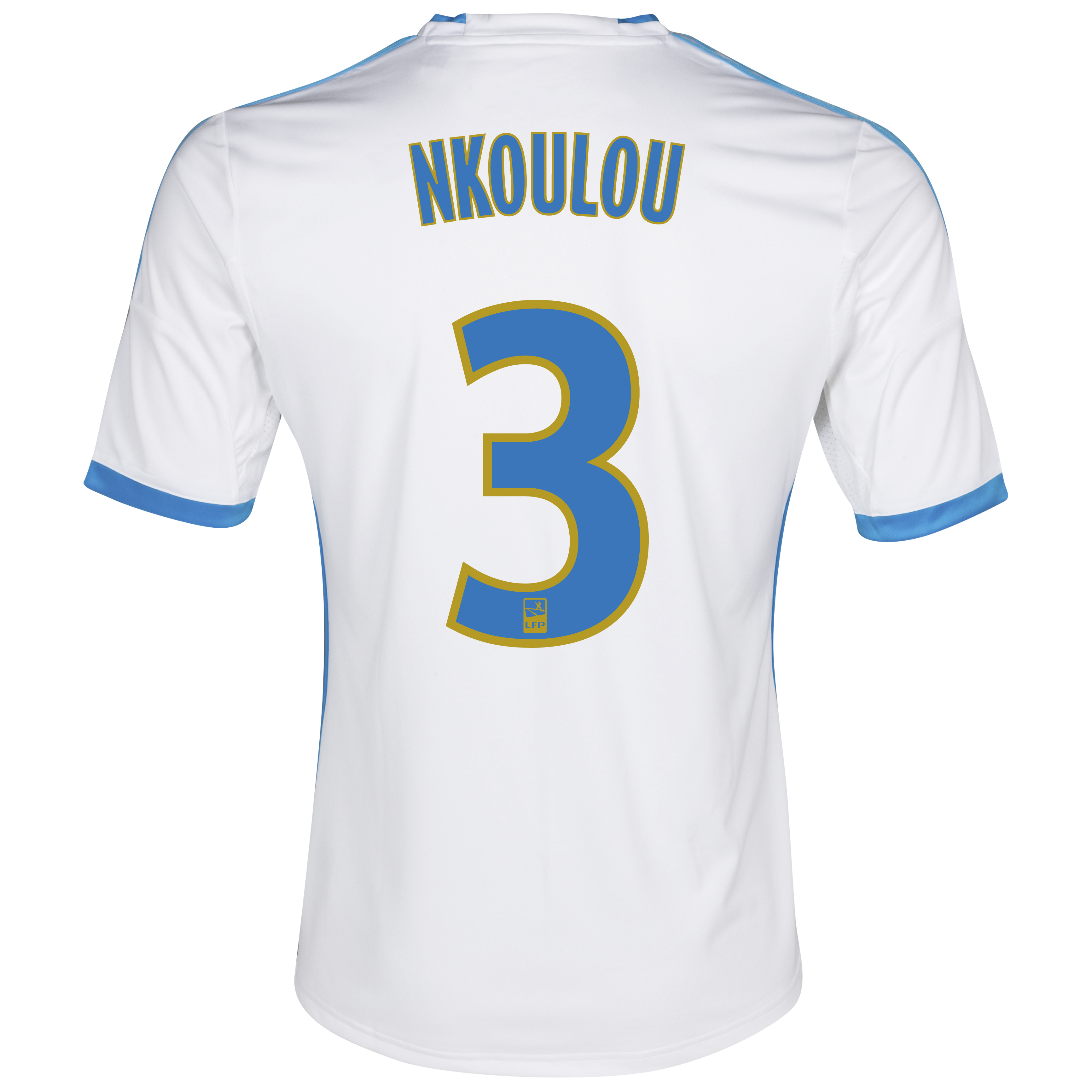 Olympique De Marseille Home Shirt SS 2013/14 - Mens White with Nkoulou 3 printing