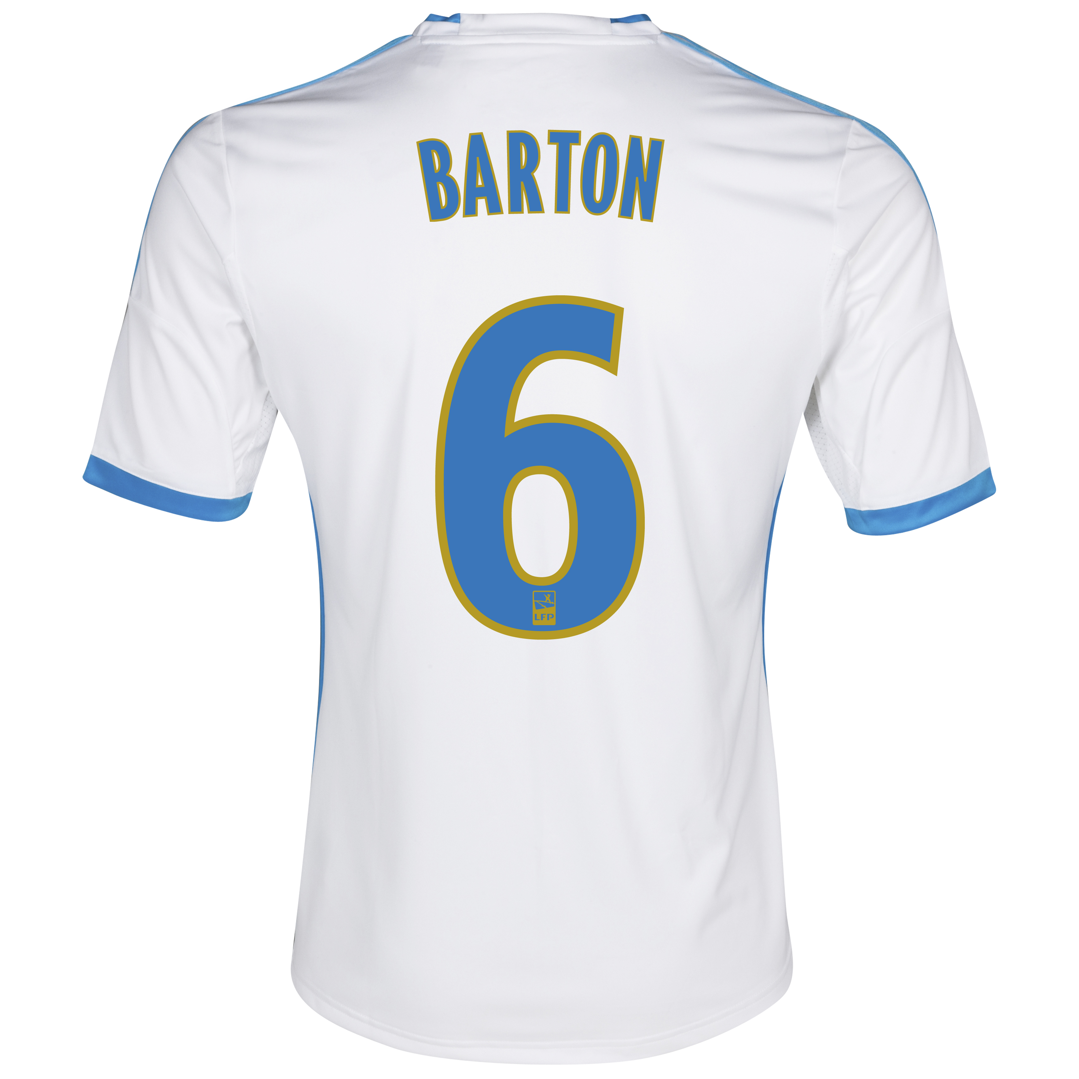 Olympique De Marseille Home Shirt SS 2013/14 - Mens White with Barton 6 printing