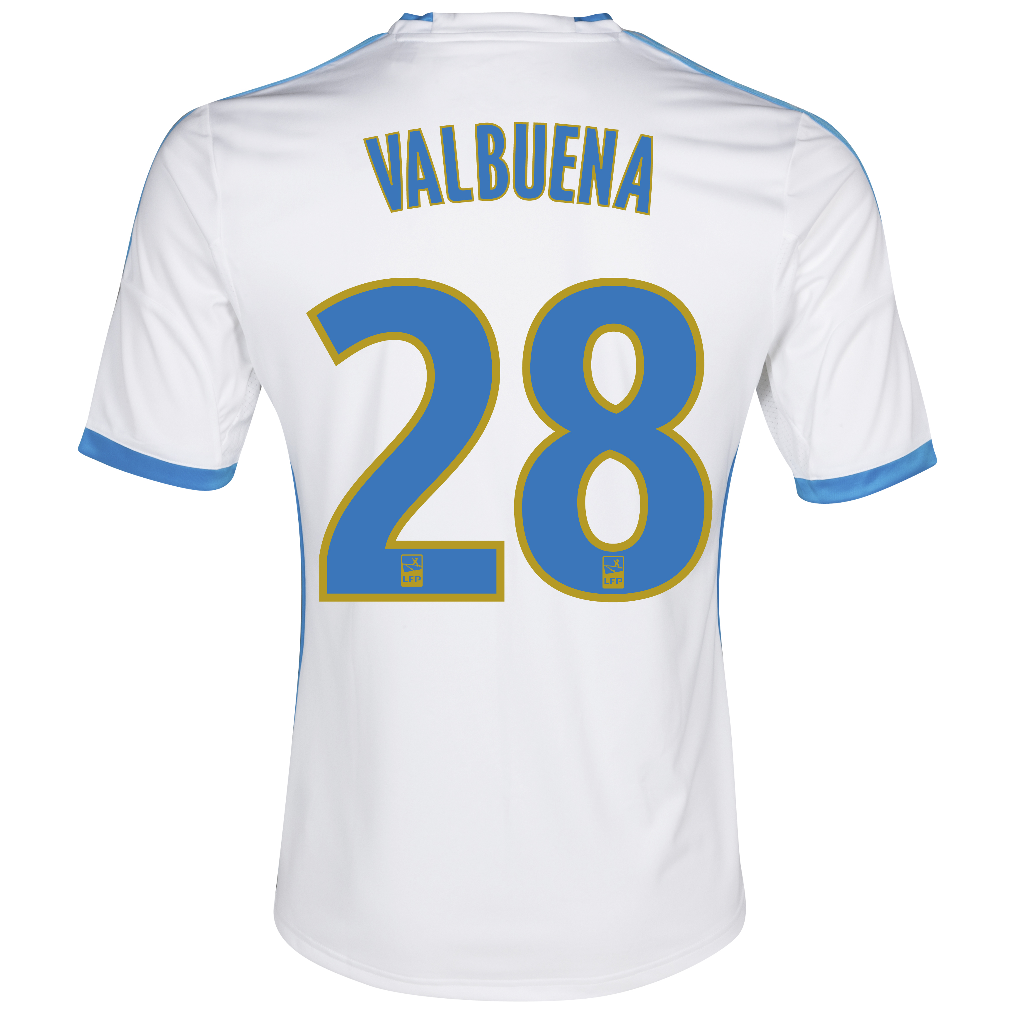 Olympique De Marseille Home Shirt SS 2013/14 - Mens White with Valbuena 28 printing