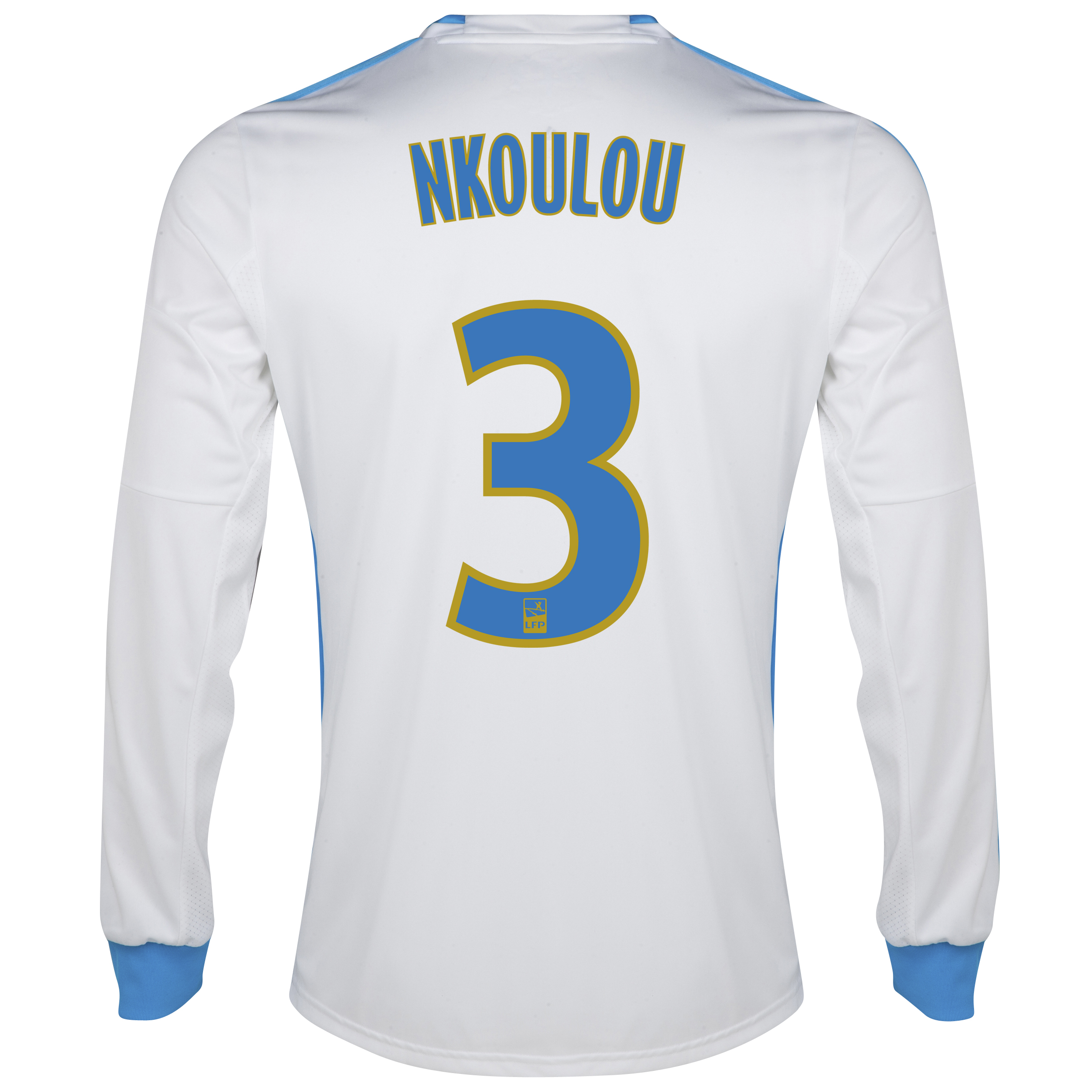 Olympique De Marseille Home Shirt LS 2013/14 - Mens White with Nkoulou 3 printing