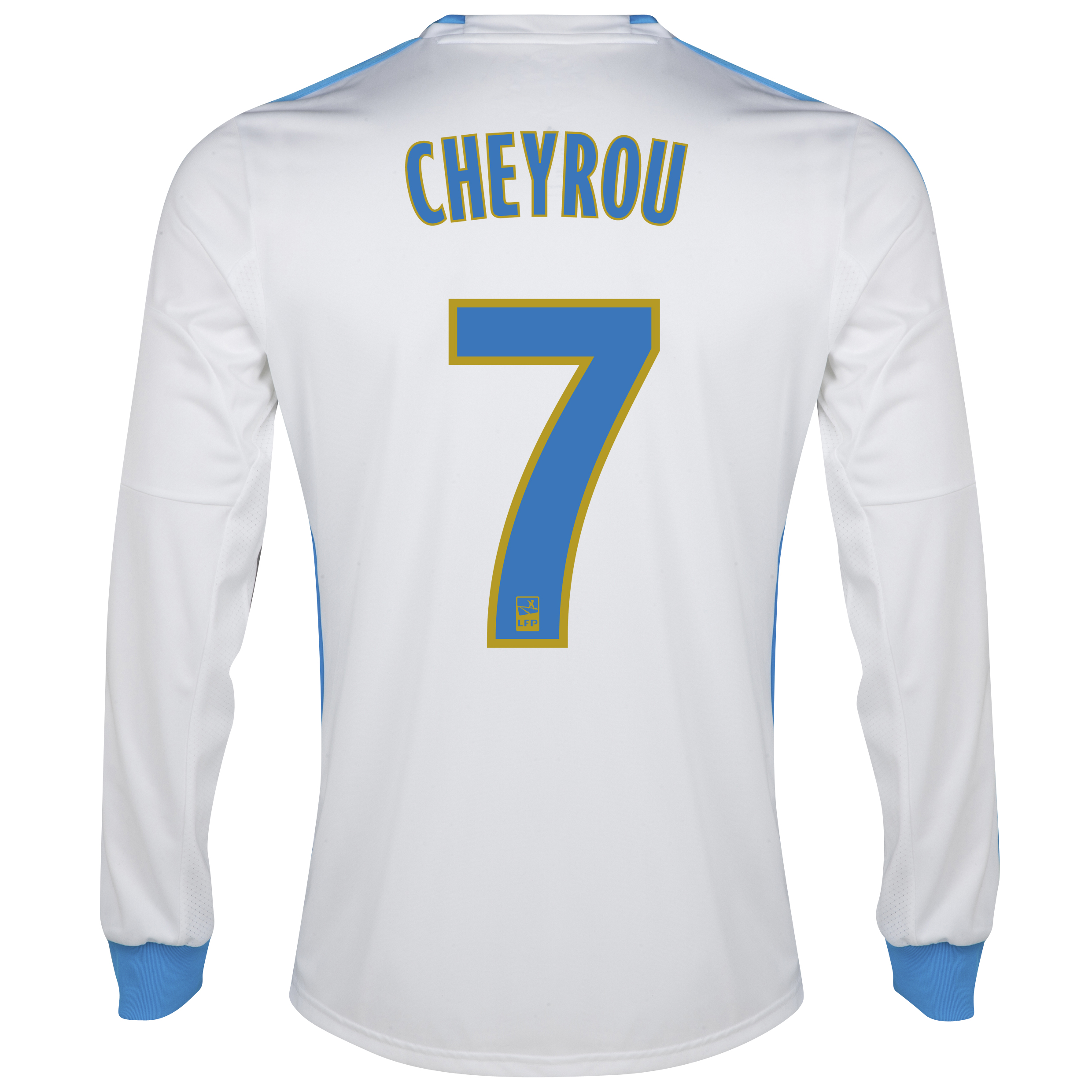 Olympique De Marseille Home Shirt LS 2013/14 - Mens White with Cheyrou 7 printing