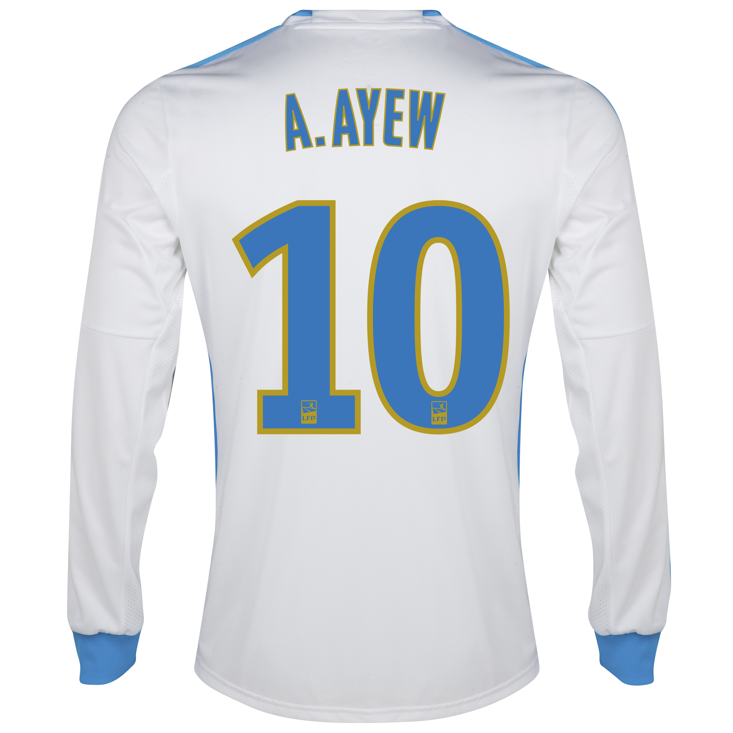 Olympique De Marseille Home Shirt LS 2013/14 - Mens White with A.Ayew 10 printing